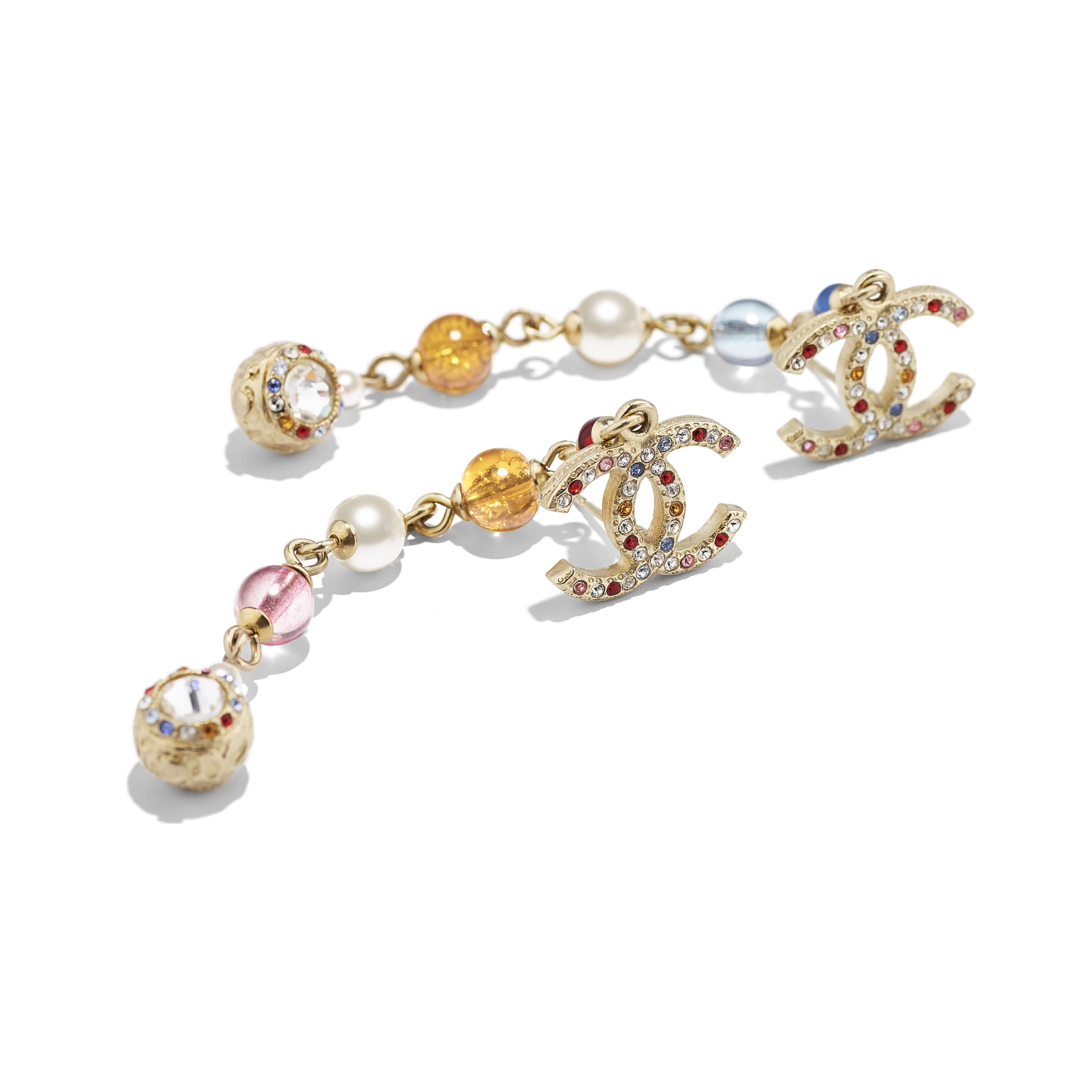 Earrings - Gold, Multicolor, Pearly White & Crystal - Metal, Natural Stones, Glass Pearls & Strass - CHANEL - Alternative view - see standard sized version