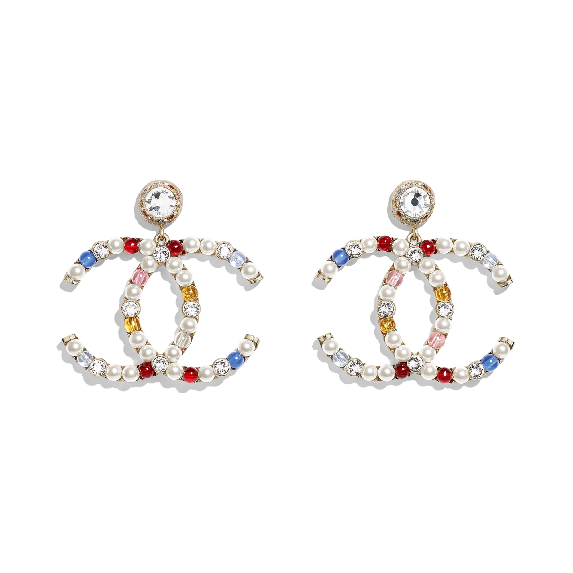 Earrings - Gold, Multicolor, Pearly White & Crystal - Metal, Natural Stones, Glass Pearls & Strass - CHANEL - Default view - see standard sized version