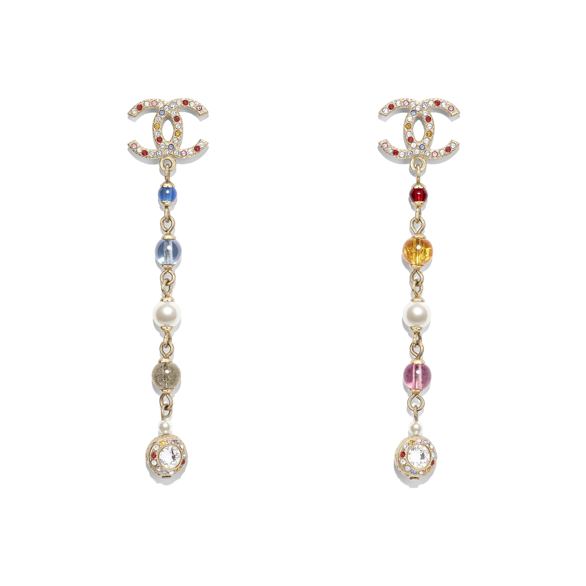 Earrings - Gold, Multicolor, Pearly White & Crystal - Metal, Natural Stones, Glass Pearls & Strass - Default view - see standard sized version