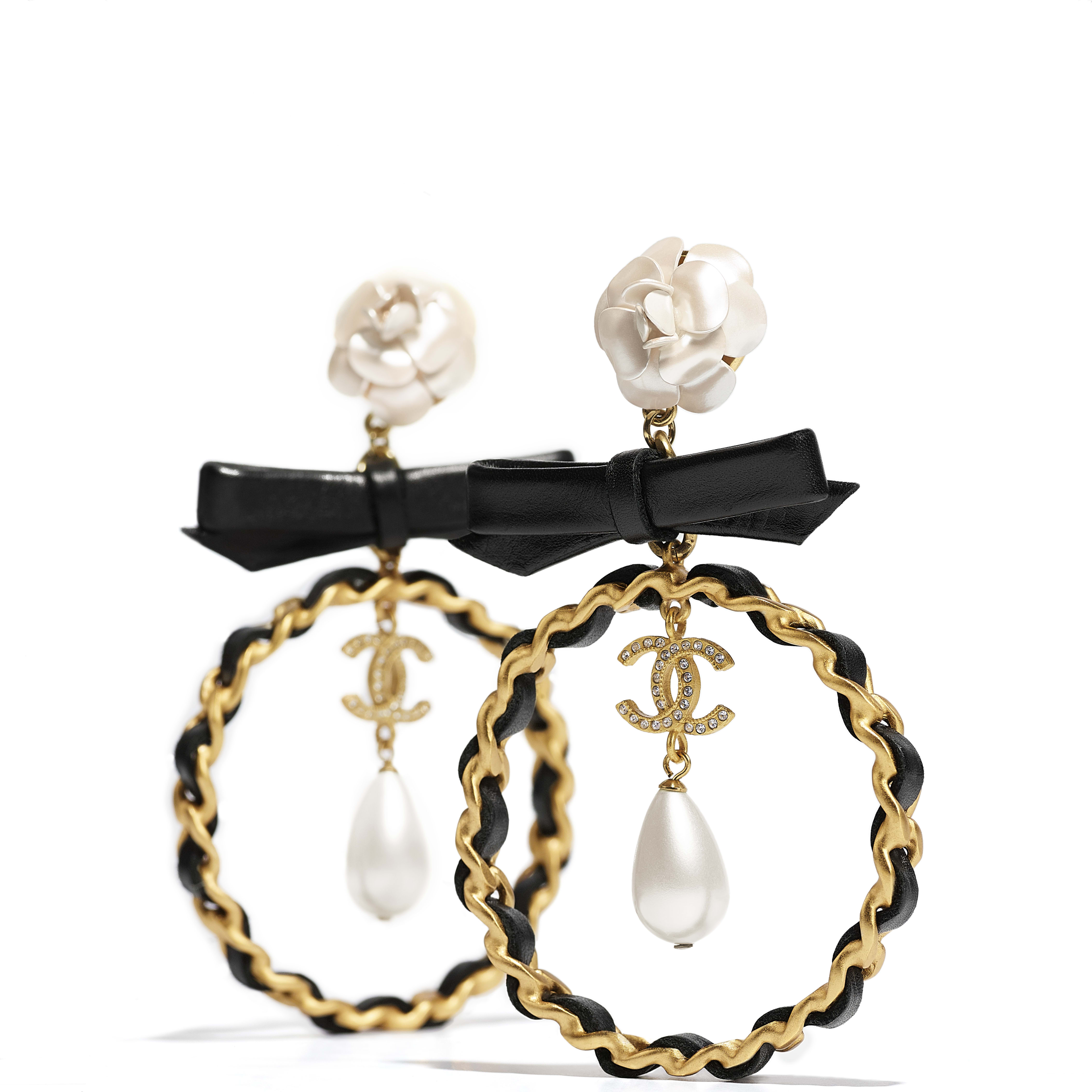 Earrings - Gold, Pearly White, Black & Crystal - Metal, glass pearls, calfskin & diamanté - CHANEL - Alternative view - see standard sized version