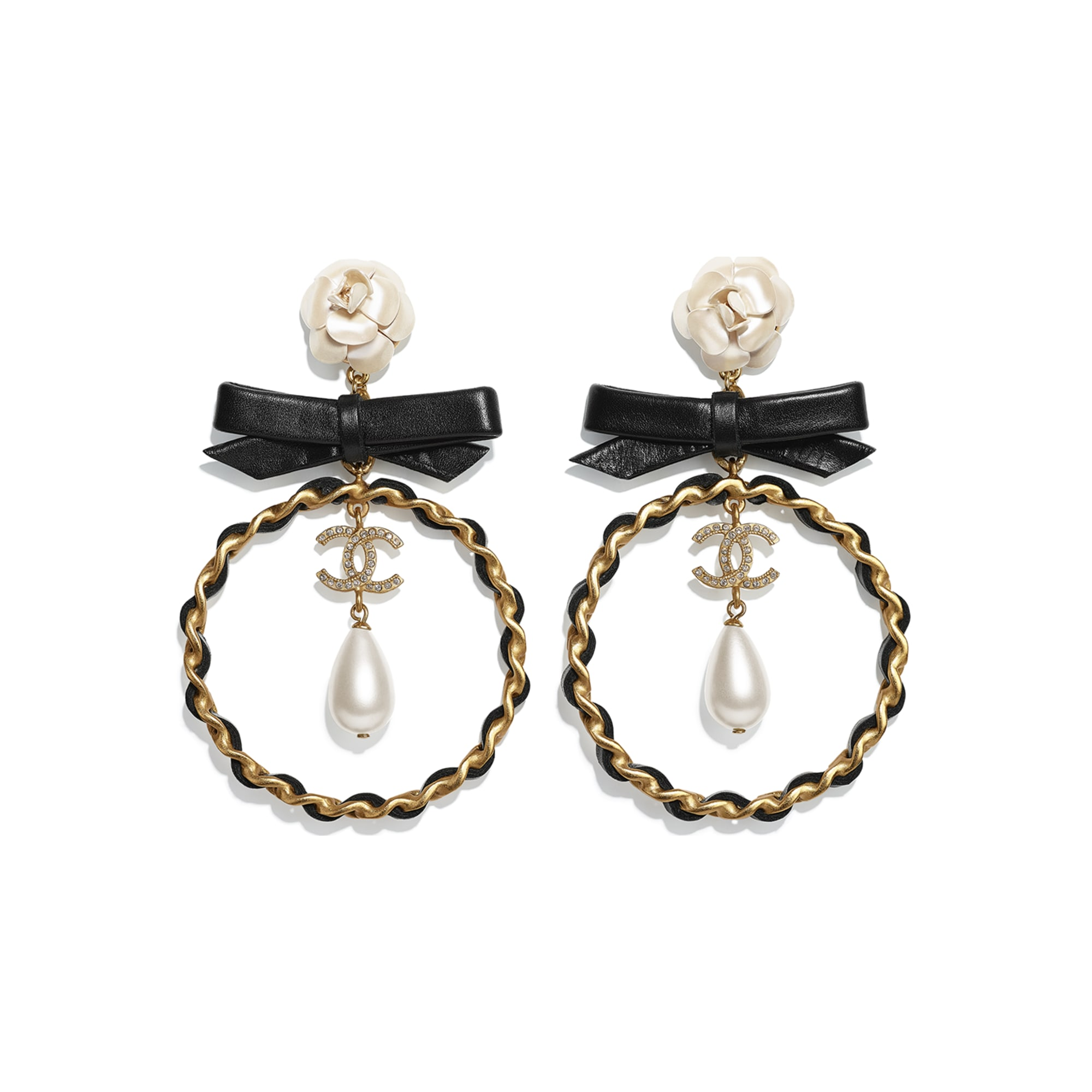 Earrings - Gold, Pearly White, Black & Crystal - Metal, glass pearls, calfskin & diamanté - CHANEL - Default view - see standard sized version