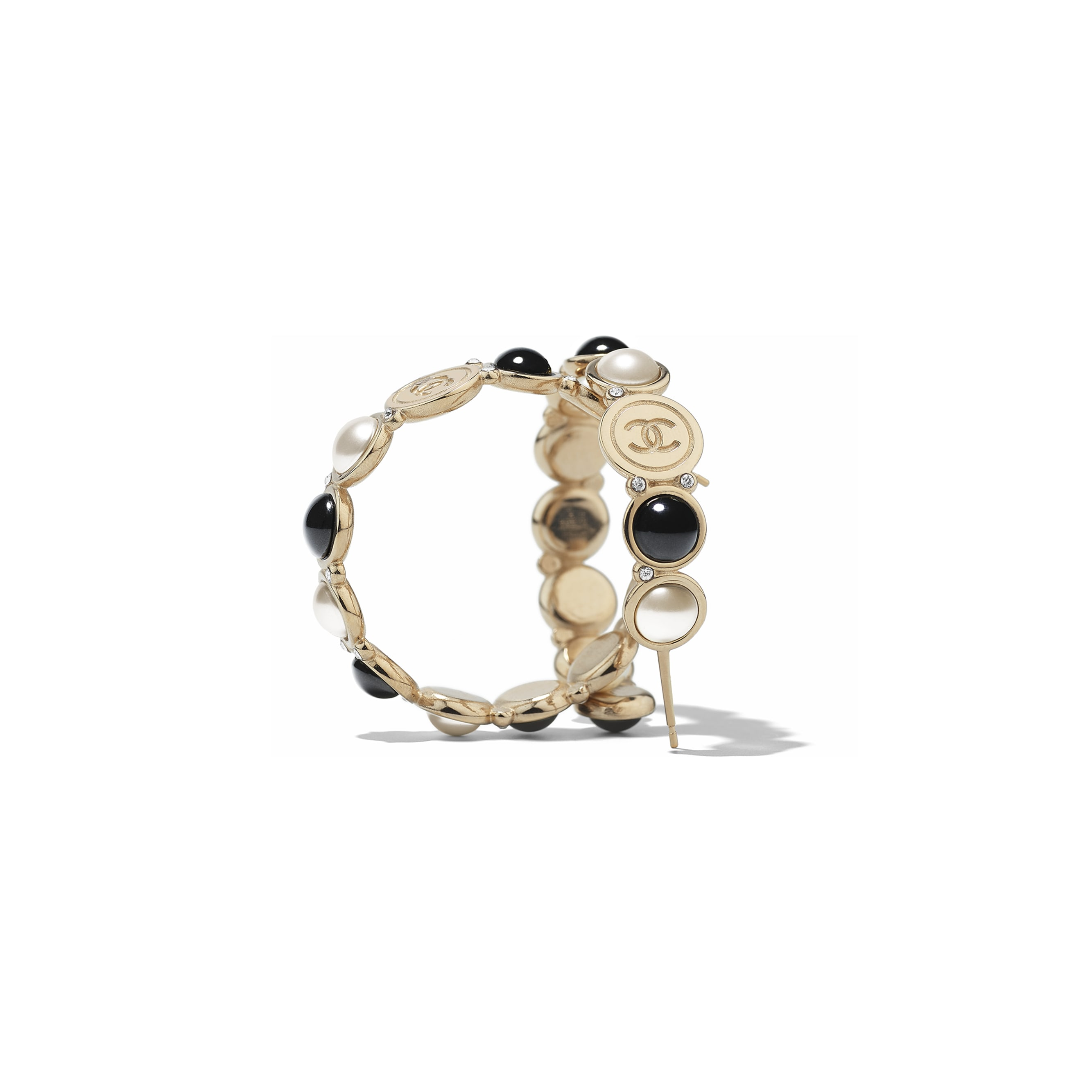 Earrings - Gold, Pearly White, Black & Crystal - Metal, Glass Pearls, Imitation Pearls & Diamanté - Alternative view - see standard sized version