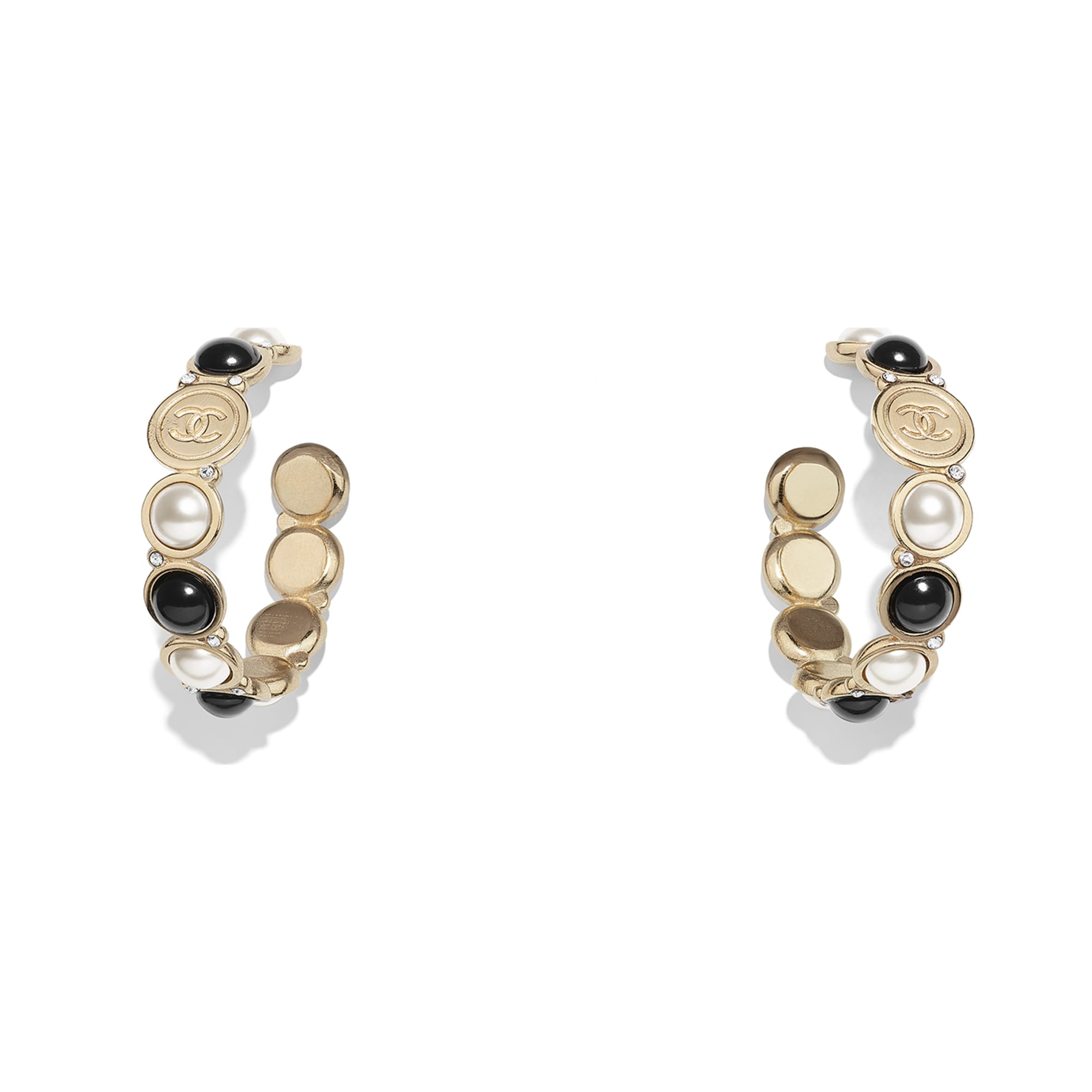Earrings - Gold, Pearly White, Black & Crystal - Metal, Glass Pearls, Imitation Pearls & Diamanté - Default view - see standard sized version