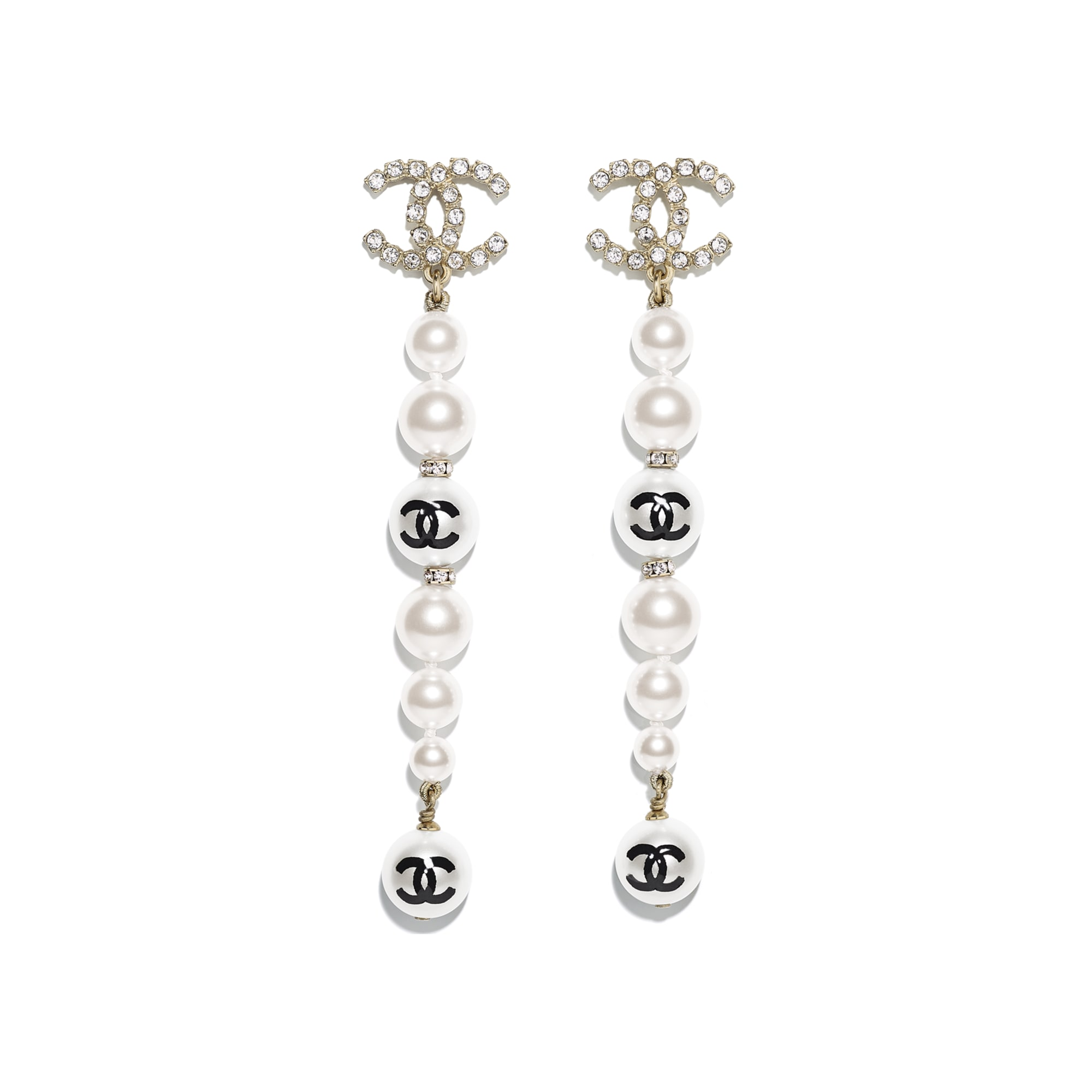 Earrings - Gold, Pearly White, Black & Crystal - Metal, Glass Pearls, Imitation Pearls & Diamanté - CHANEL - Default view - see standard sized version