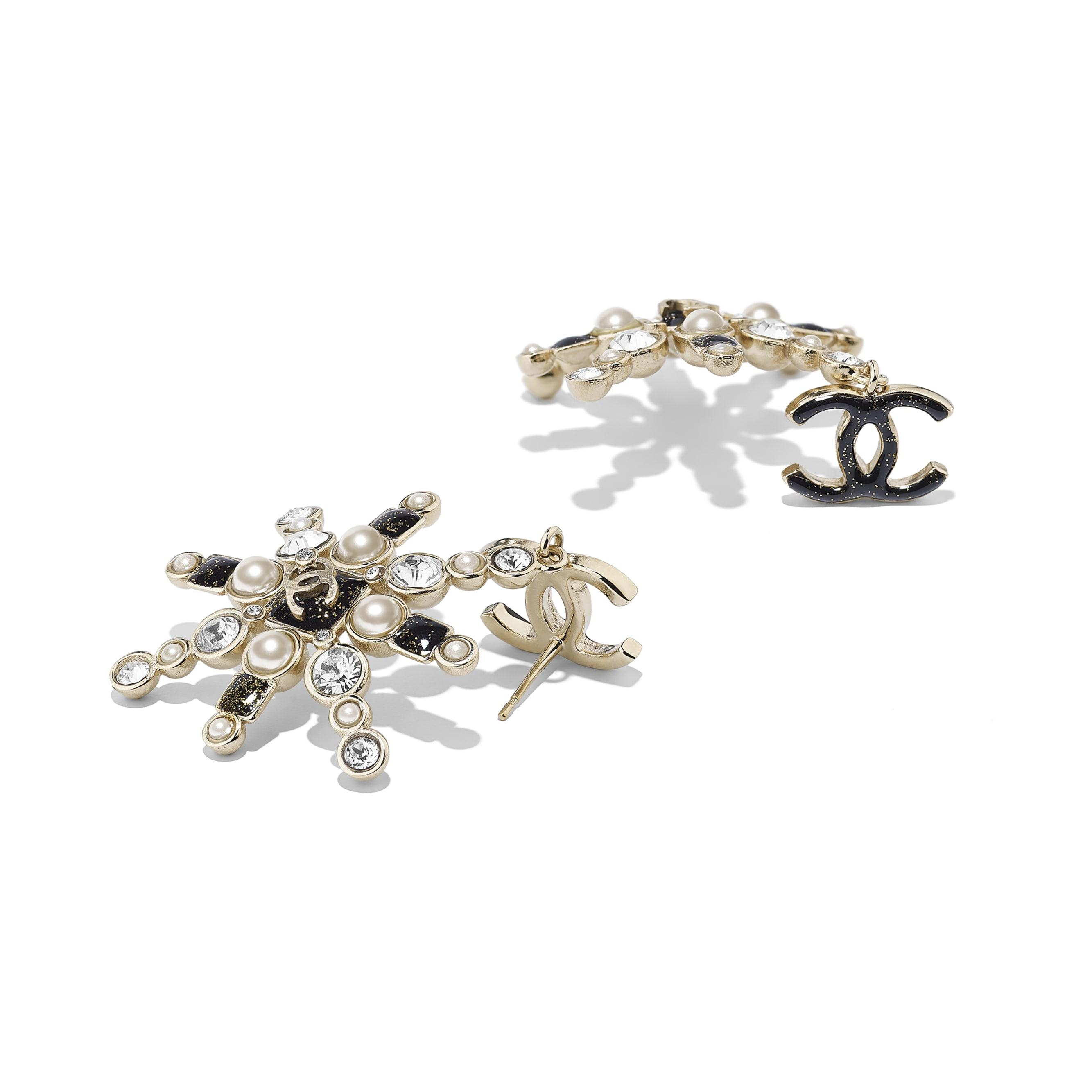 Серьги - золотистый, жемчужно-белый, черный и кристальный - Металл, стеклянный жемчуг и стразы - Альтернативный вид - посмотреть изображение стандартного размера