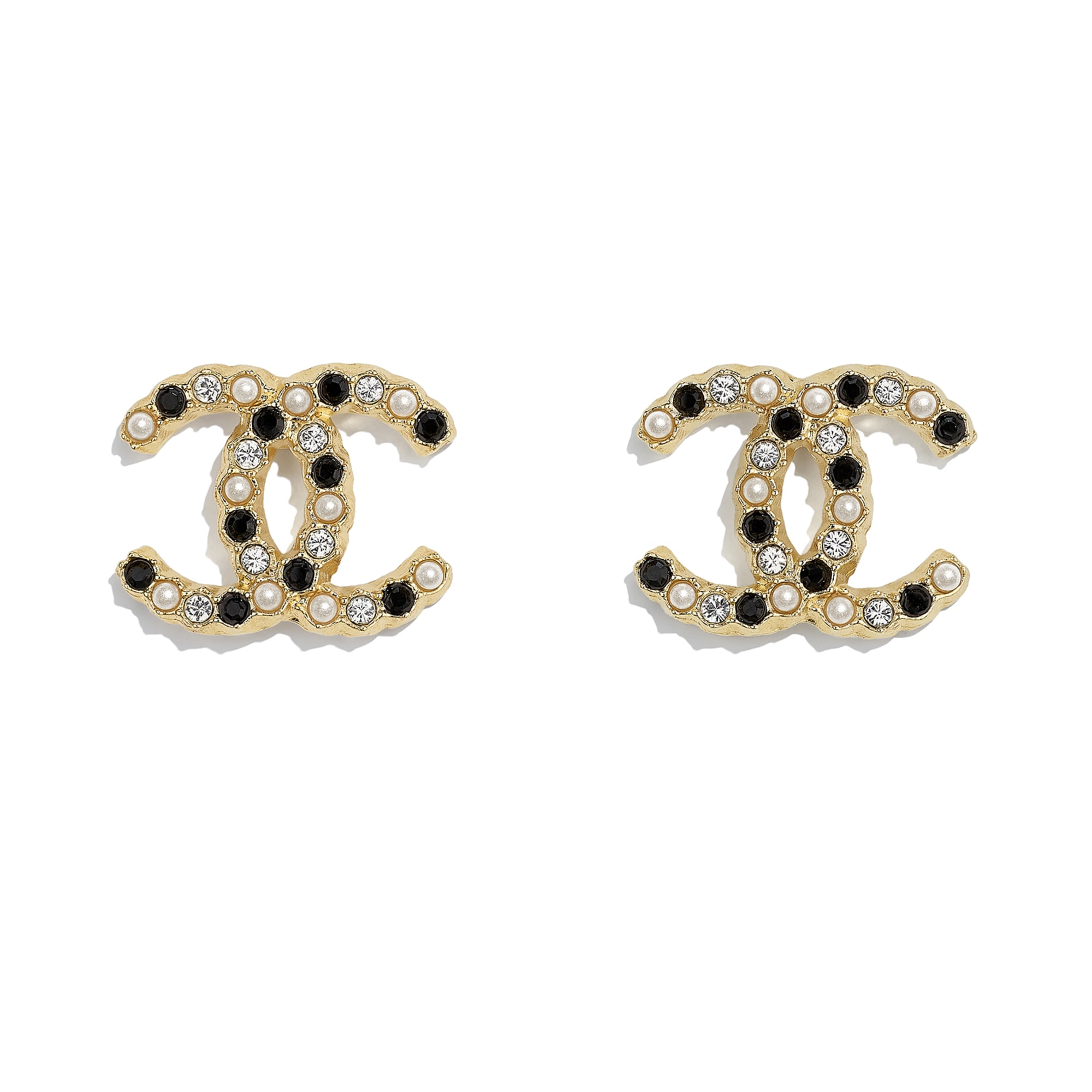 Earrings - Gold, Pearly White, Black & Crystal - Metal, Glass Pearls & Diamantés - CHANEL - Default view - see standard sized version