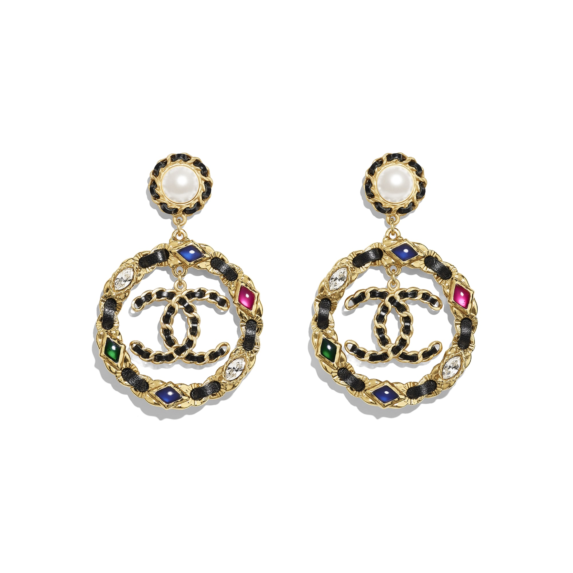 Earrings - Gold, Pearly White, Black, Crystal & Multicolour - Metal, Glass Pearls, Lambskin, Calfskin, Strass & Resin - Default view - see standard sized version