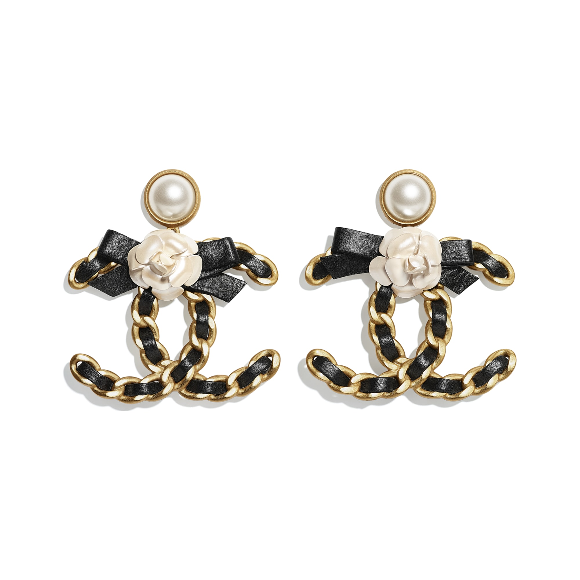 Earrings - Gold, Pearly White & Black - Metal, Glass Pearls & Calfskin - CHANEL - Default view - see standard sized version