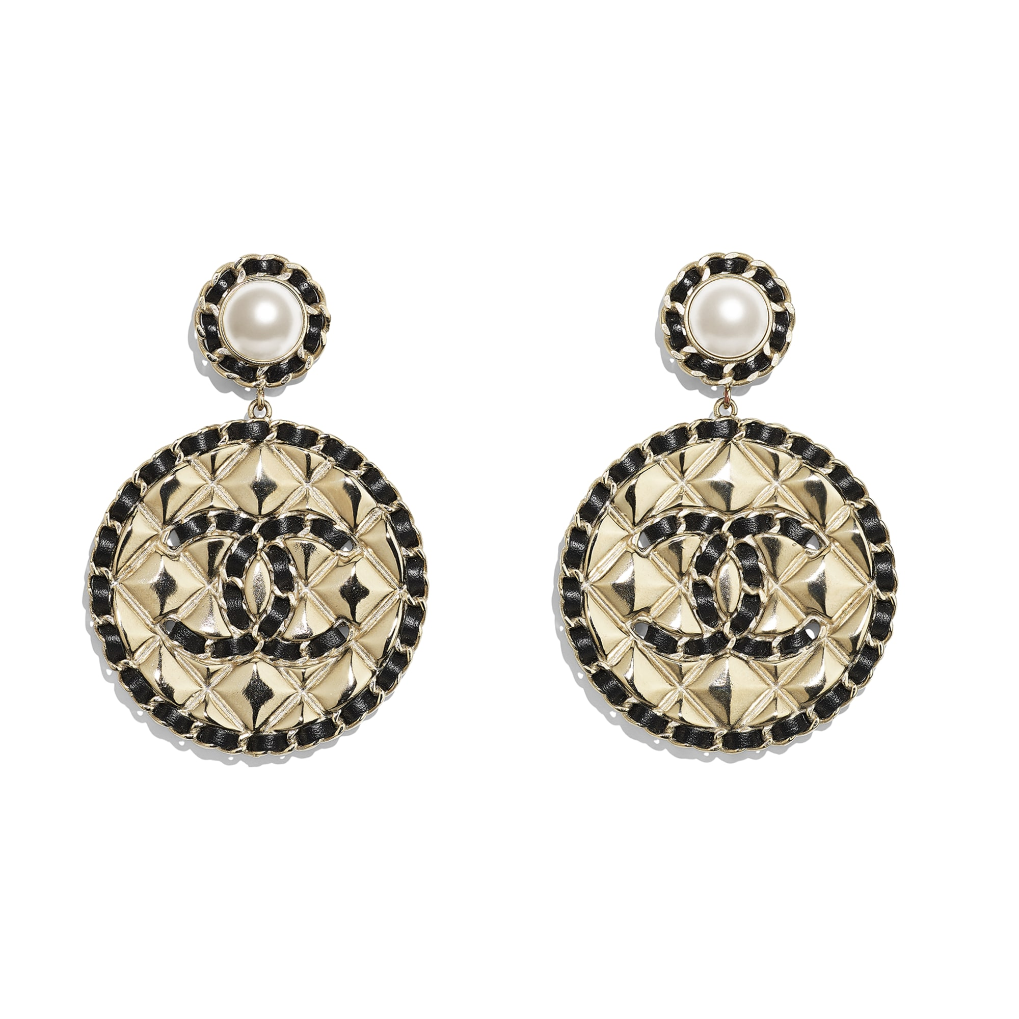 Earrings - Gold, Pearly White & Black - Metal, Glass Pearls & Lambskin - CHANEL - Default view - see standard sized version