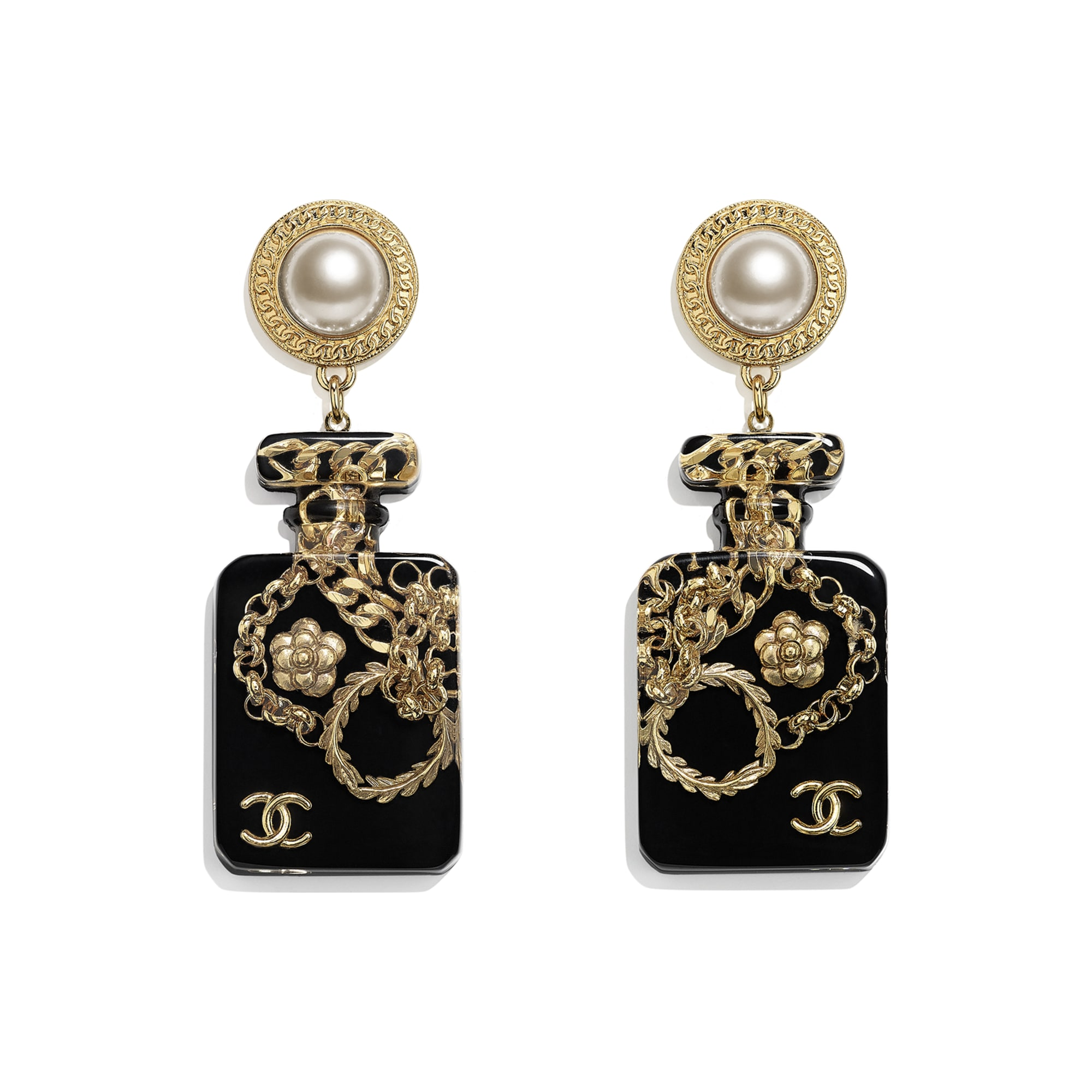 Earrings - Gold, Pearly White & Black - Metal, Glass Pearls & Resin - CHANEL - Default view - see standard sized version