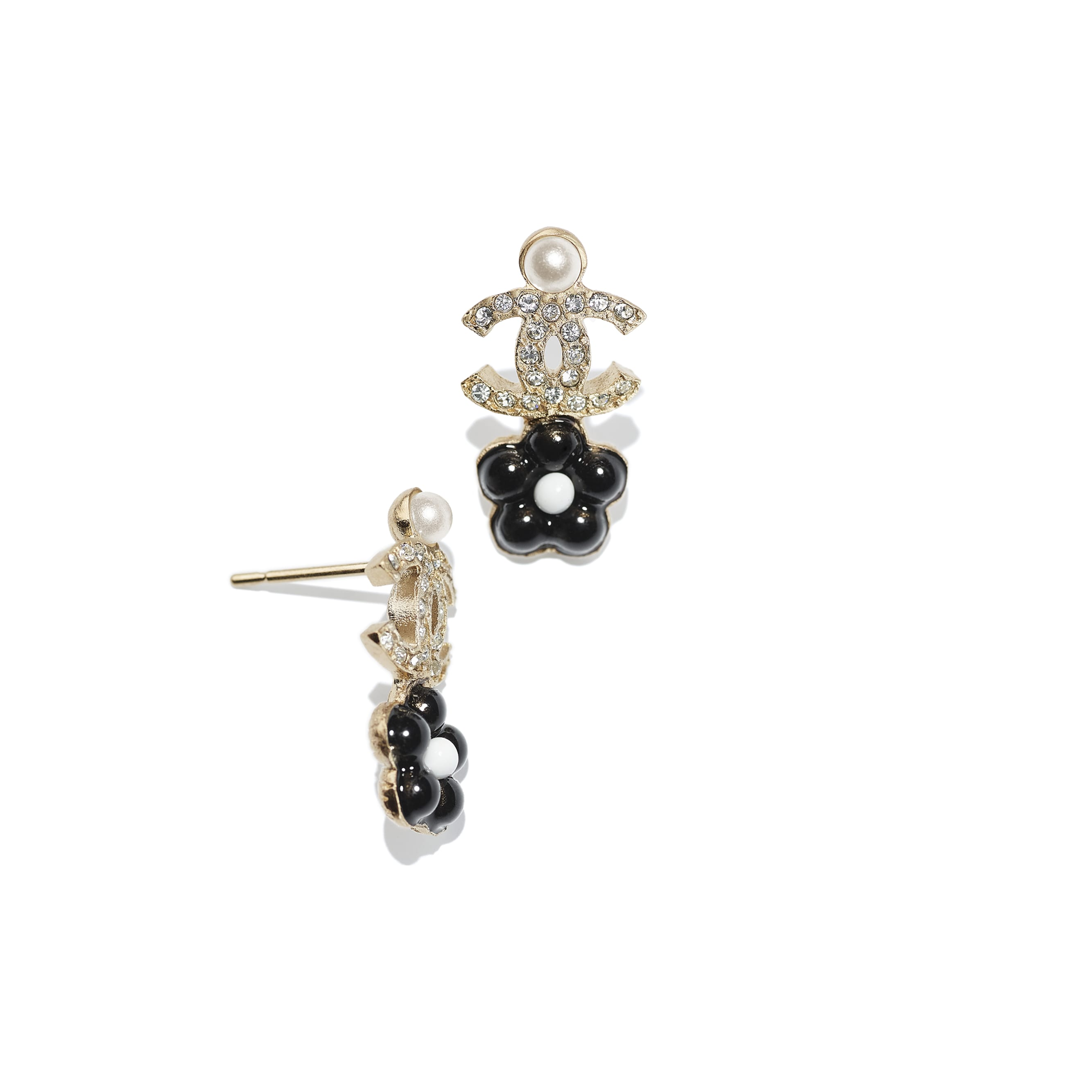 Earrings - Gold, Pearly White, Crystal & Black - Metal, Glass Pearls & Diamantés - CHANEL - Alternative view - see standard sized version