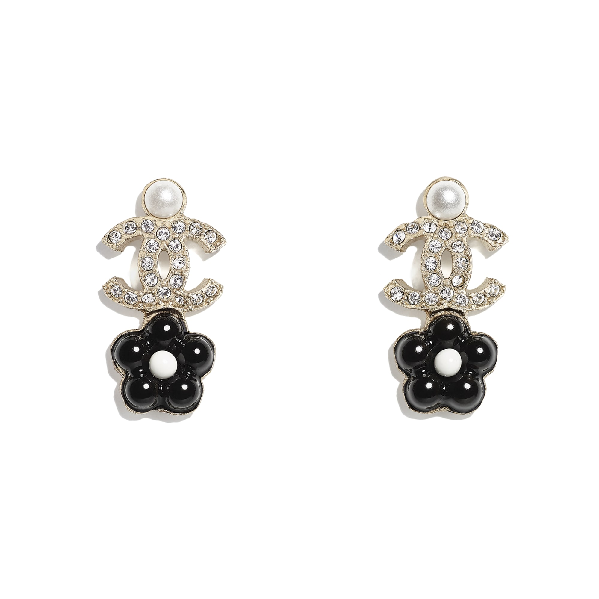 Earrings - Gold, Pearly White, Crystal & Black - Metal, Glass Pearls & Diamantés - CHANEL - Default view - see standard sized version