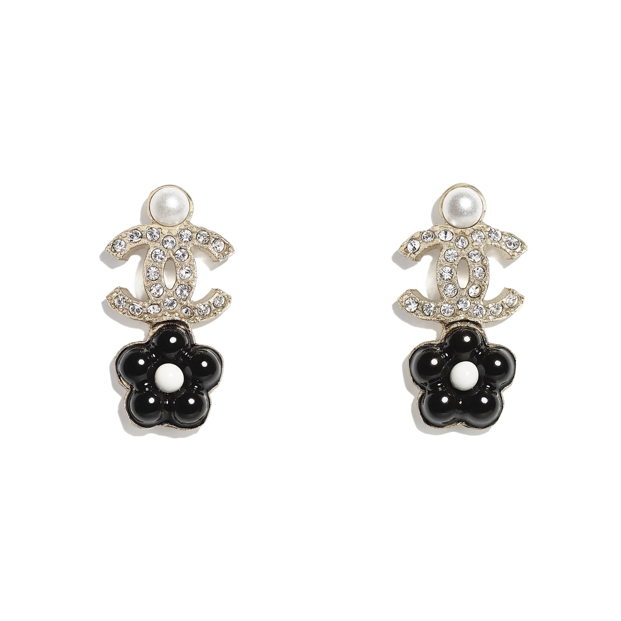 耳環 - 金、珍珠白、水晶與黑 - 金屬、琉璃珠與水鑽 - CHANEL - 預設視圖 - 查看標準尺寸版本