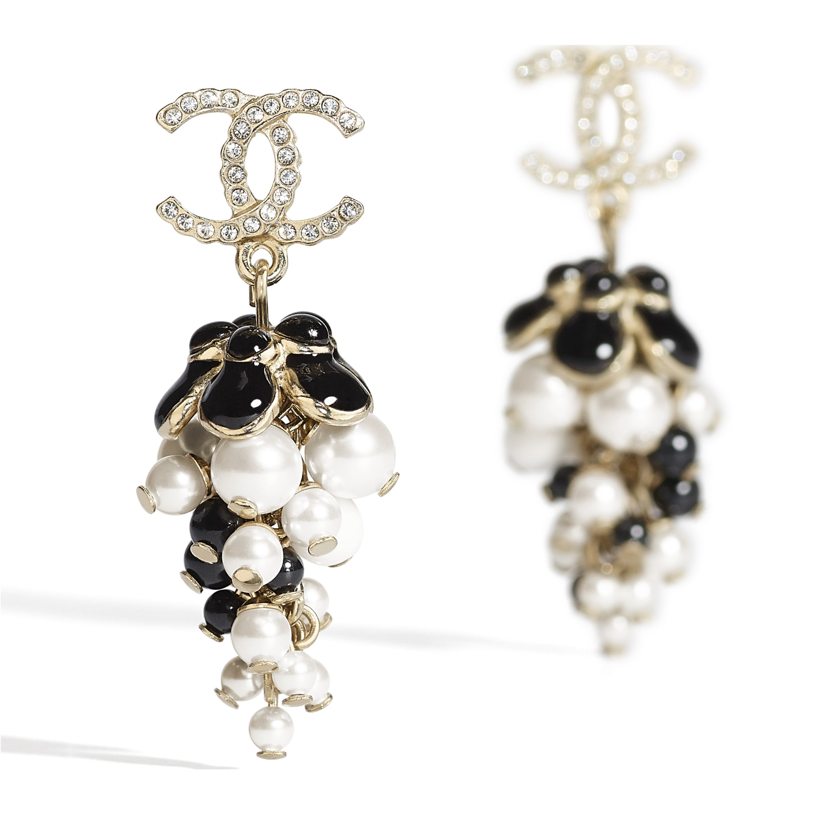 Earrings - Gold, Pearly White, Crystal, Black & White - Metal, Glass Pearls, Diamanté & Resin - CHANEL - Alternative view - see standard sized version