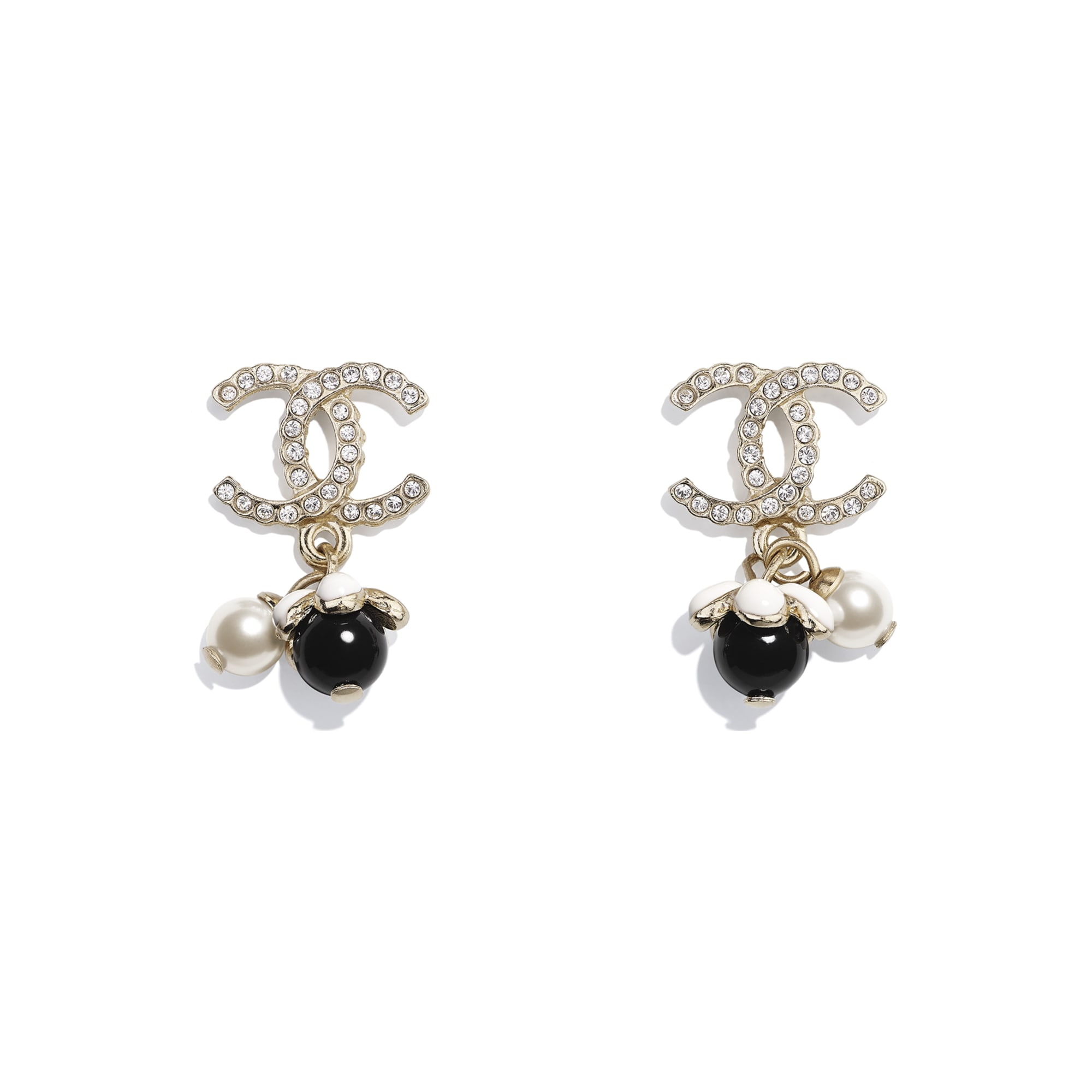 Earrings - Gold, Pearly White, Crystal, Black & White - Metal, Glass Pearls, Diamanté & Resin - CHANEL - Default view - see standard sized version