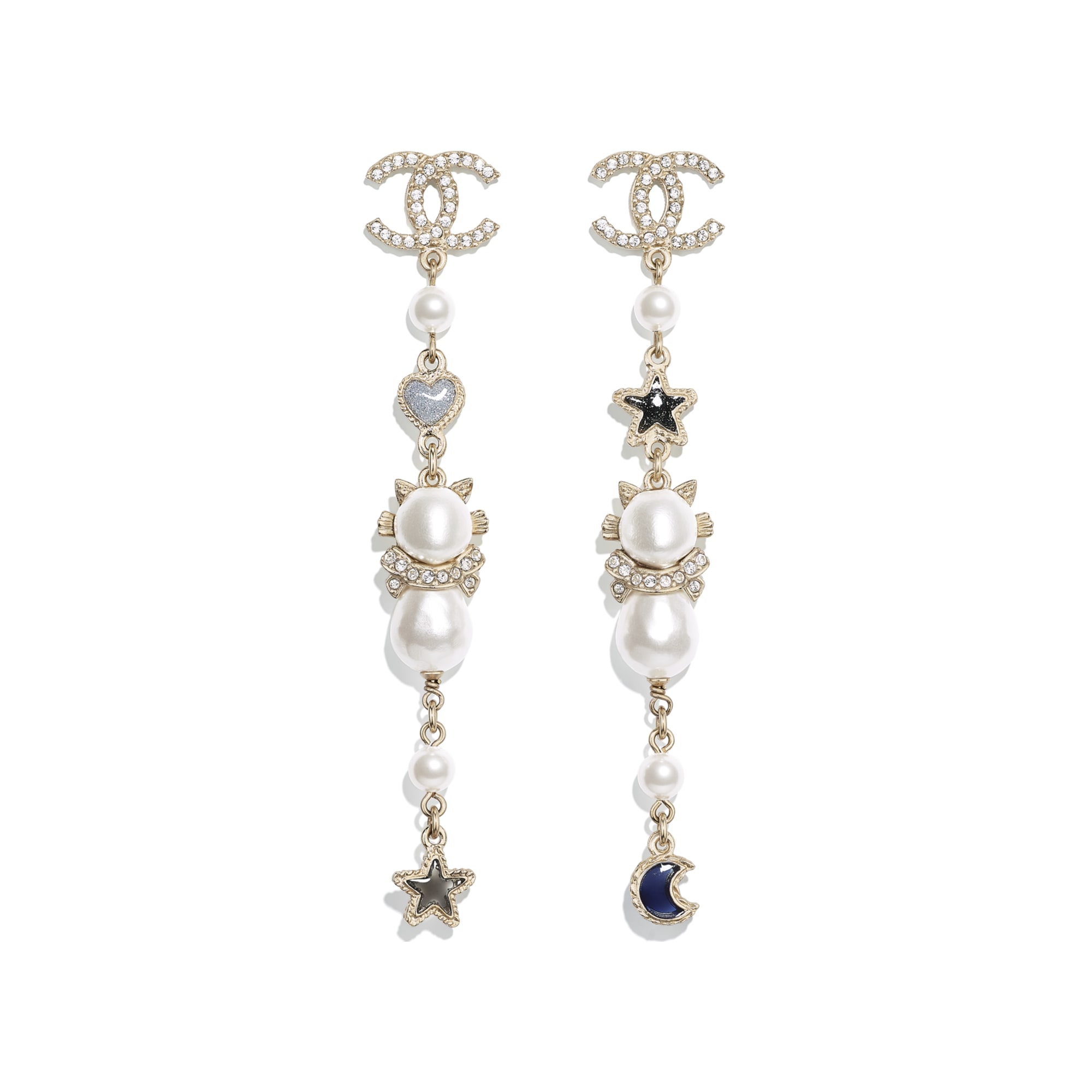 Earrings - Gold, Pearly White, Crystal, Blue & Gray - Metal, Glass Pearls, Imitation Pearls, Strass & Resin - CHANEL - Default view - see standard sized version