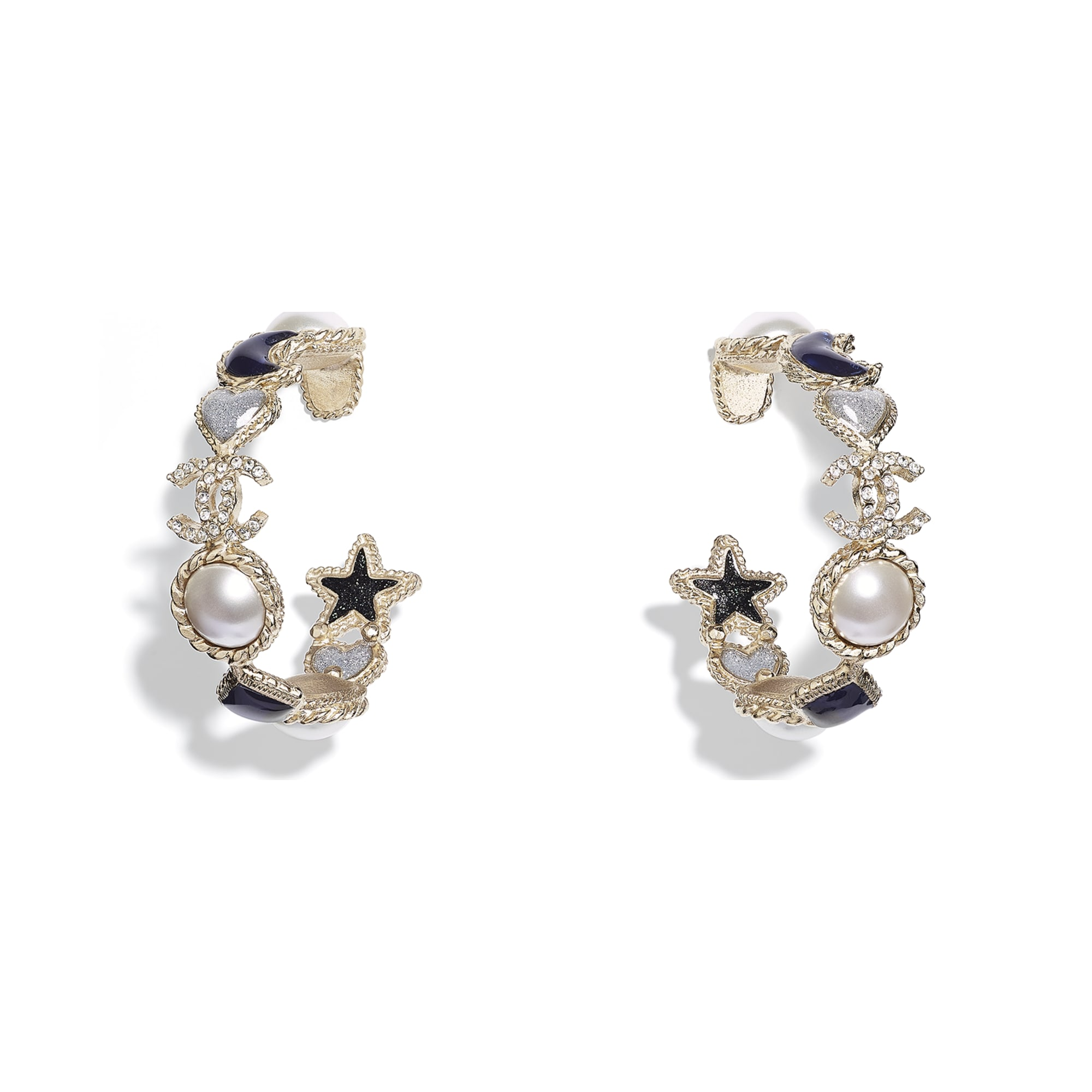 Earrings - Gold, Pearly White, Crystal, Blue & Gray - Metal, Glass Pearls, Diamanté & Resin - CHANEL - Default view - see standard sized version