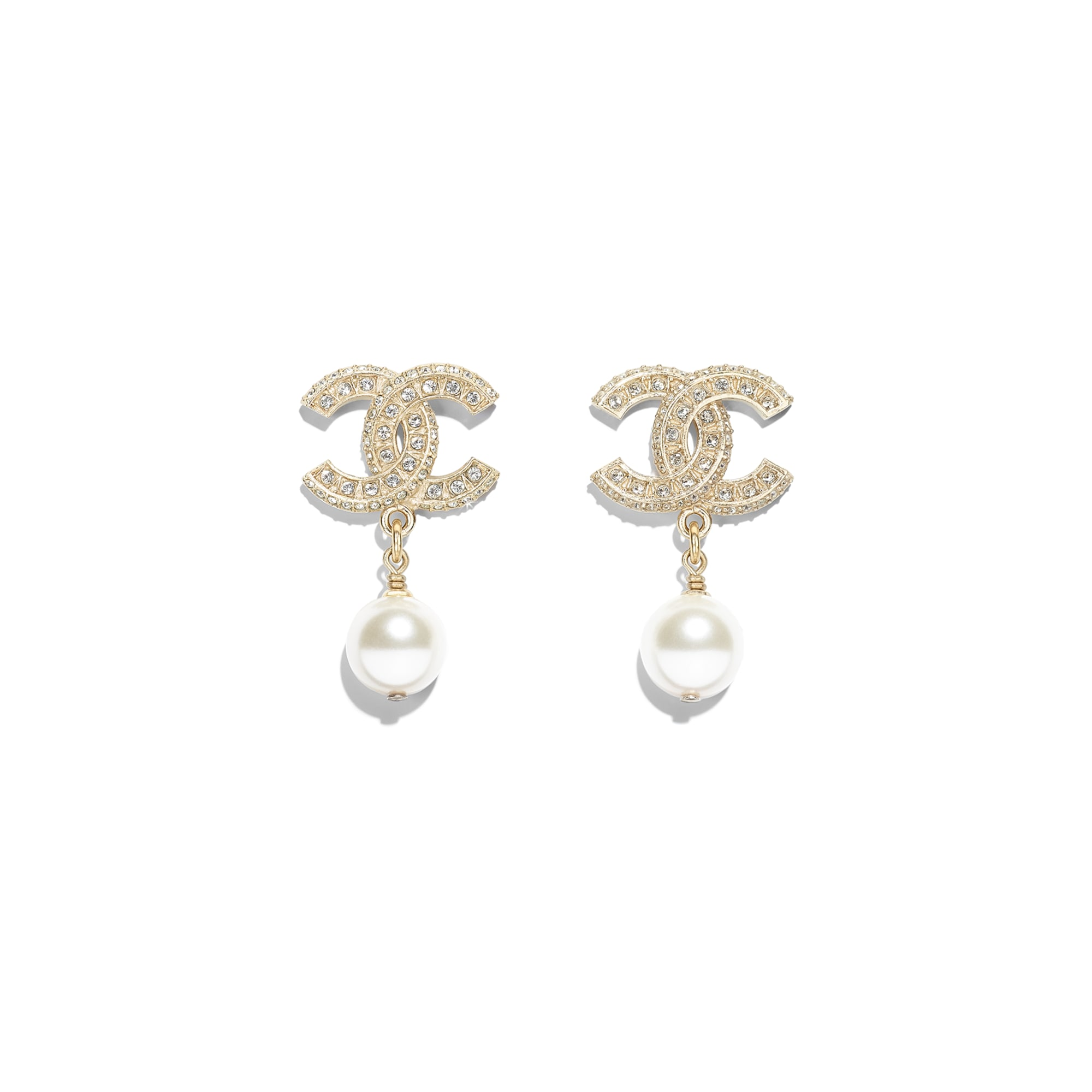 Earrings - Gold, Pearly White & Crystal - Metal, Glass Pearls, Resin & Diamantés - Default view - see standard sized version