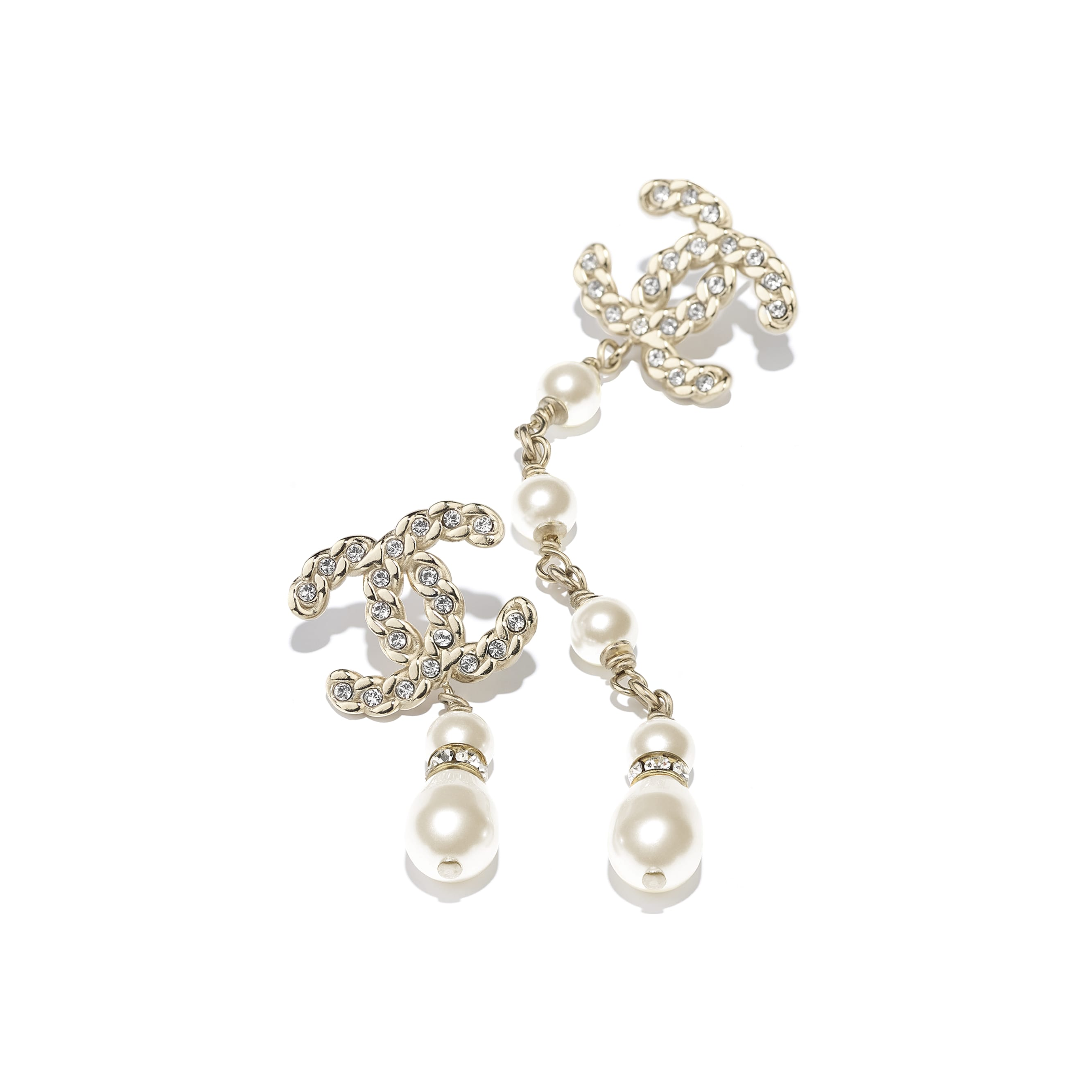 Earrings - Gold, Pearly White & Crystal - Metal, Glass Pearls & Strass - Alternative view - see standard sized version