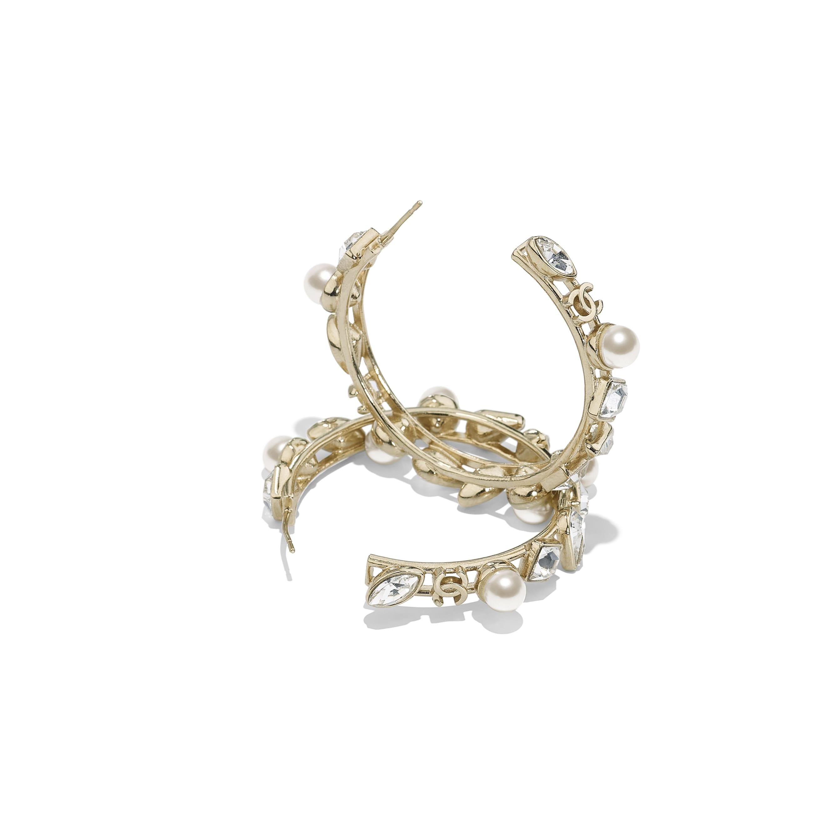 Kolczyki - Kolor złoty, perłowobiały i krystaliczny - Metal, szklane perły i stras - Widok alternatywny – zobacz w standardowym rozmiarze