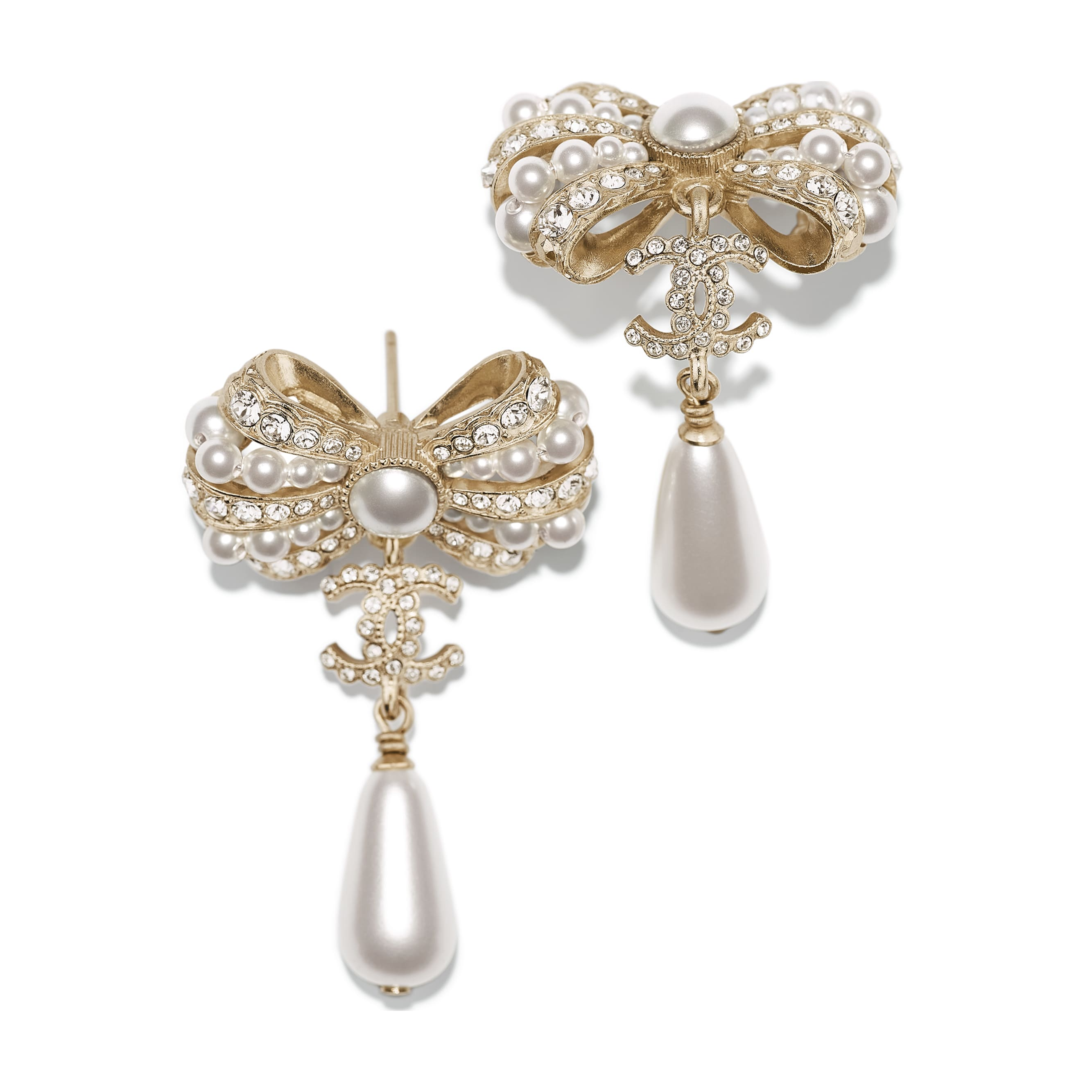 Earrings - Gold, Pearly White & Crystal - Metal, Glass Pearls & Diamantés - Alternative view - see standard sized version