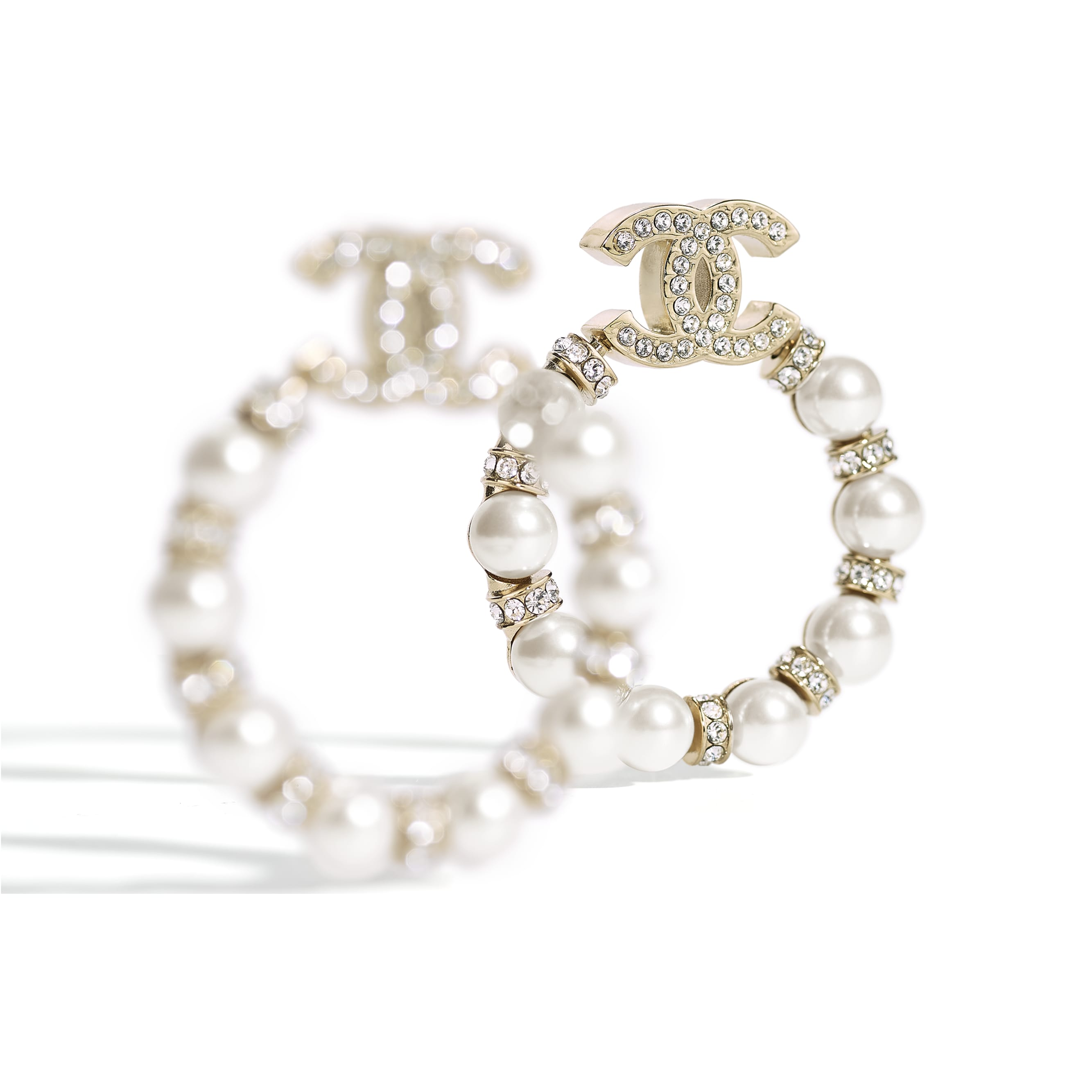 Earrings - Gold, Pearly White & Crystal - Metal, Glass Pearls & Strass - CHANEL - Alternative view - see standard sized version