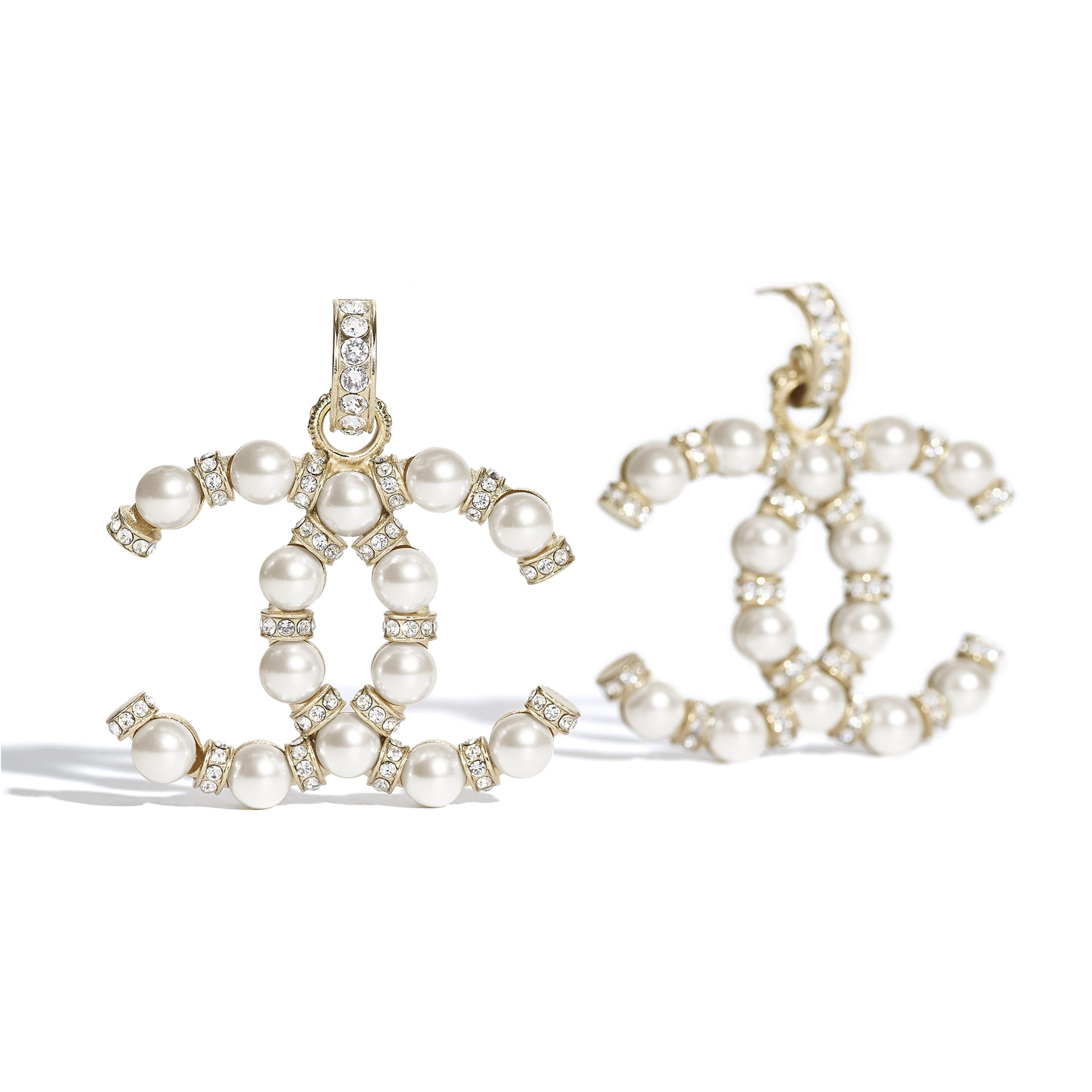 Earrings - Gold, Pearly White & Crystal - Metal, Glass Pearls & Diamantés - CHANEL - Alternative view - see standard sized version