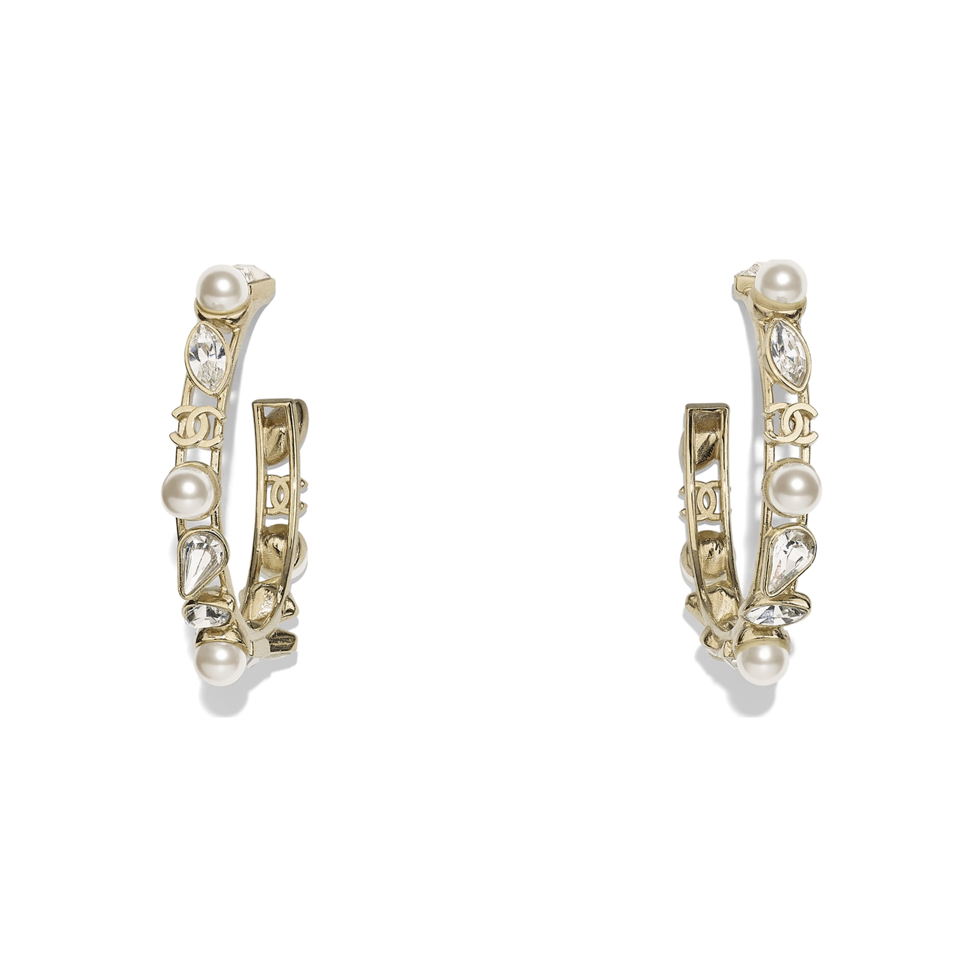Earrings - Gold, Pearly White & Crystal - Metal, Glass Pearls & Strass - Default view - see standard sized version