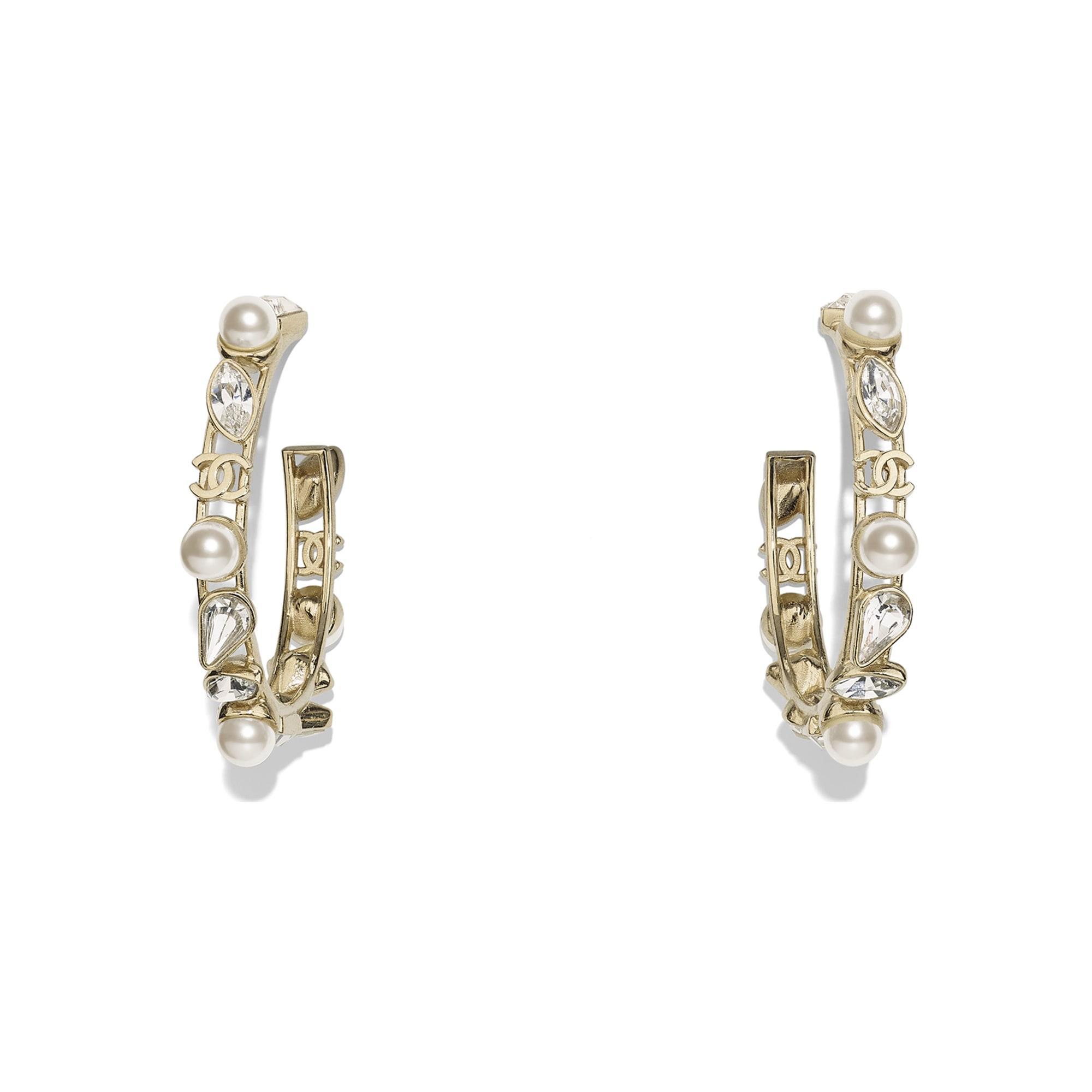 Kolczyki - Kolor złoty, perłowobiały i krystaliczny - Metal, szklane perły i stras - Widok domyślny – zobacz w standardowym rozmiarze