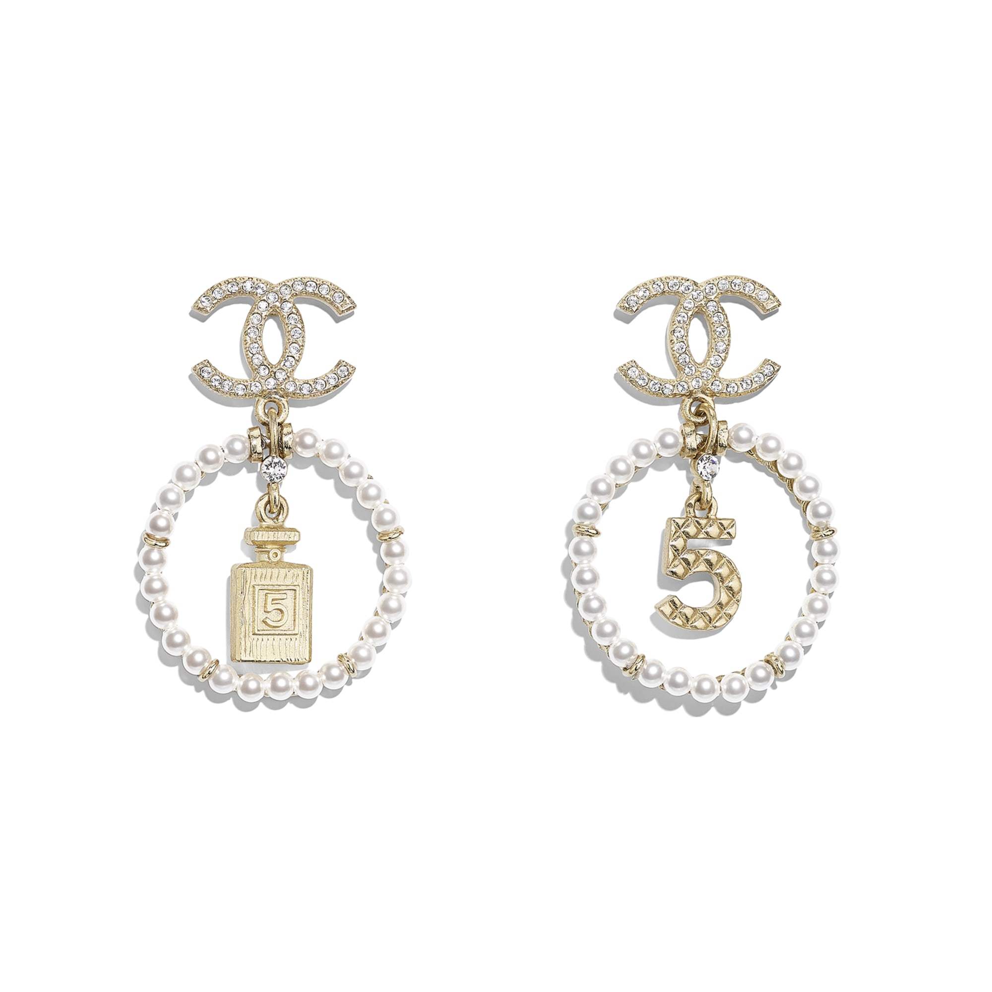 Earrings - Gold, Pearly White & Crystal - Metal, Glass Pearls & Diamantés - Default view - see standard sized version