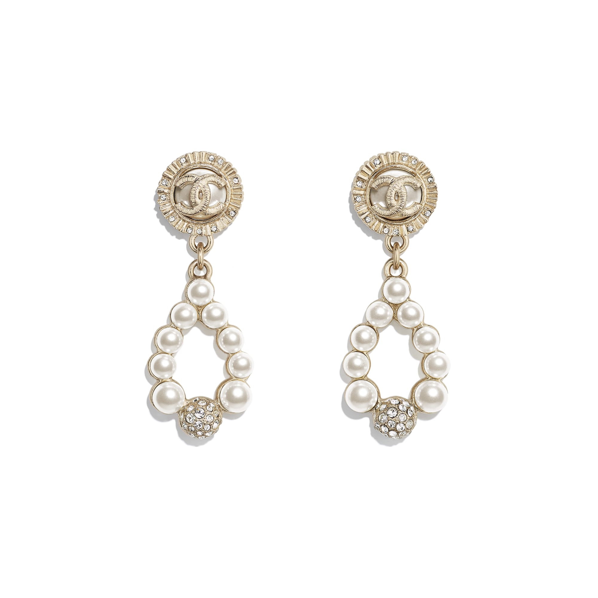 Earrings - Gold, Pearly White & Crystal - Metal, Glass Pearls & Diamantés - CHANEL - Default view - see standard sized version