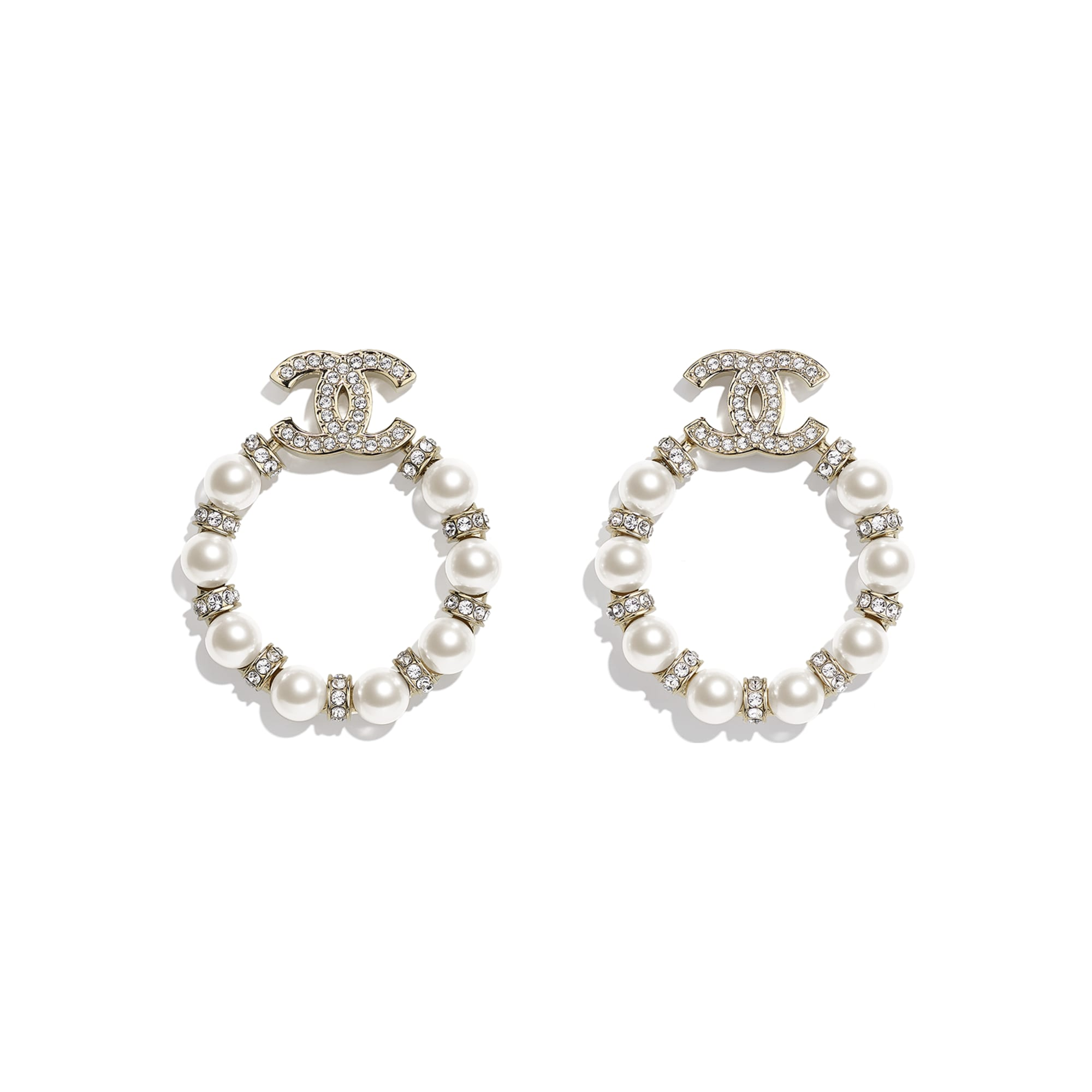 Earrings - Gold, Pearly White & Crystal - Metal, Glass Pearls & Strass - CHANEL - Default view - see standard sized version