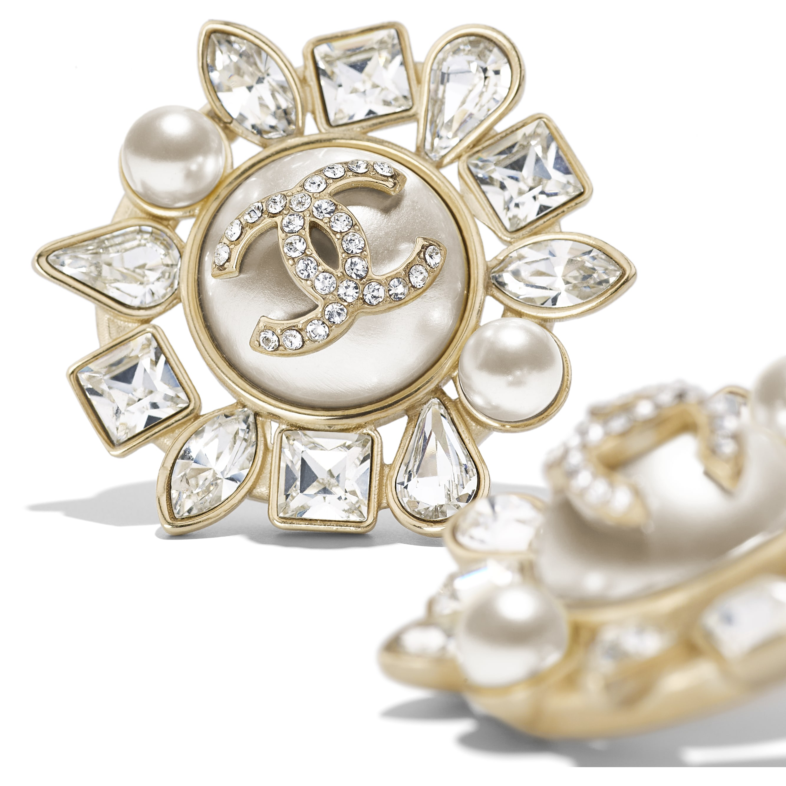 Earrings - Gold, Pearly White & Crystal - Metal, Glass Pearls, Strass & Resin - Alternative view - see standard sized version