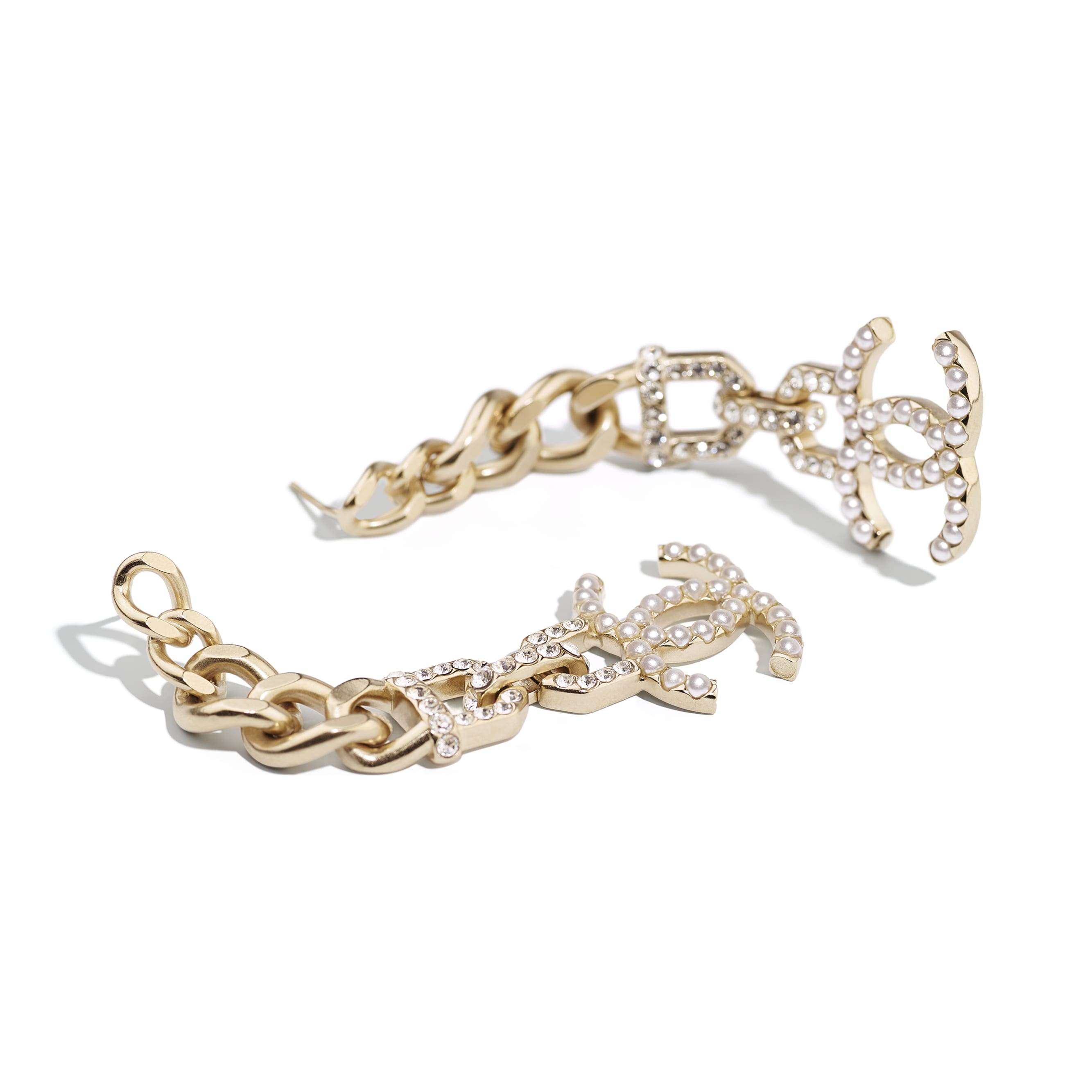 Earrings - Gold, Pearly White & Crystal - Metal, Imitation Pearls & Diamanté - CHANEL - Alternative view - see standard sized version