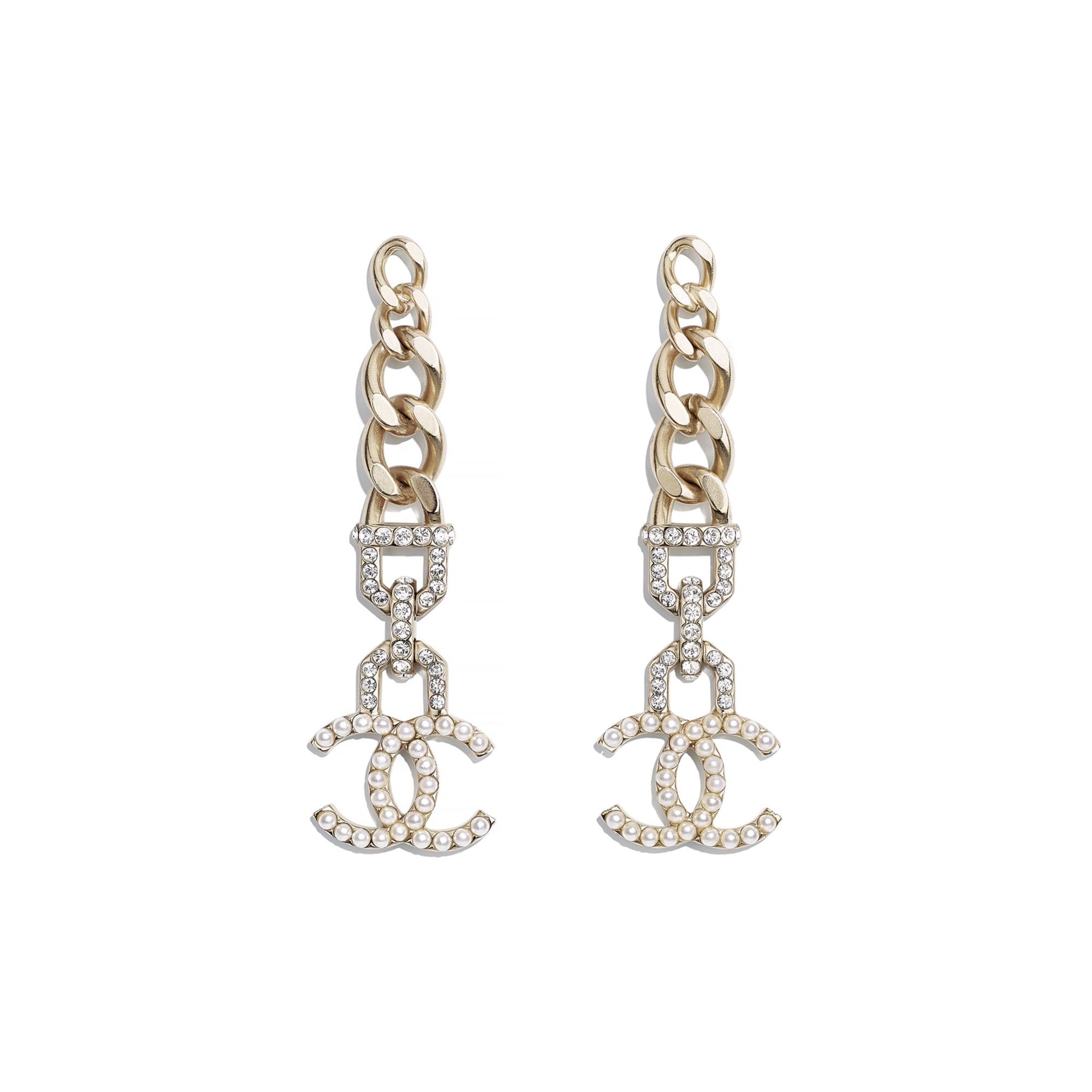 Earrings - Gold, Pearly White & Crystal - Metal, Imitation Pearls & Diamanté - CHANEL - Default view - see standard sized version