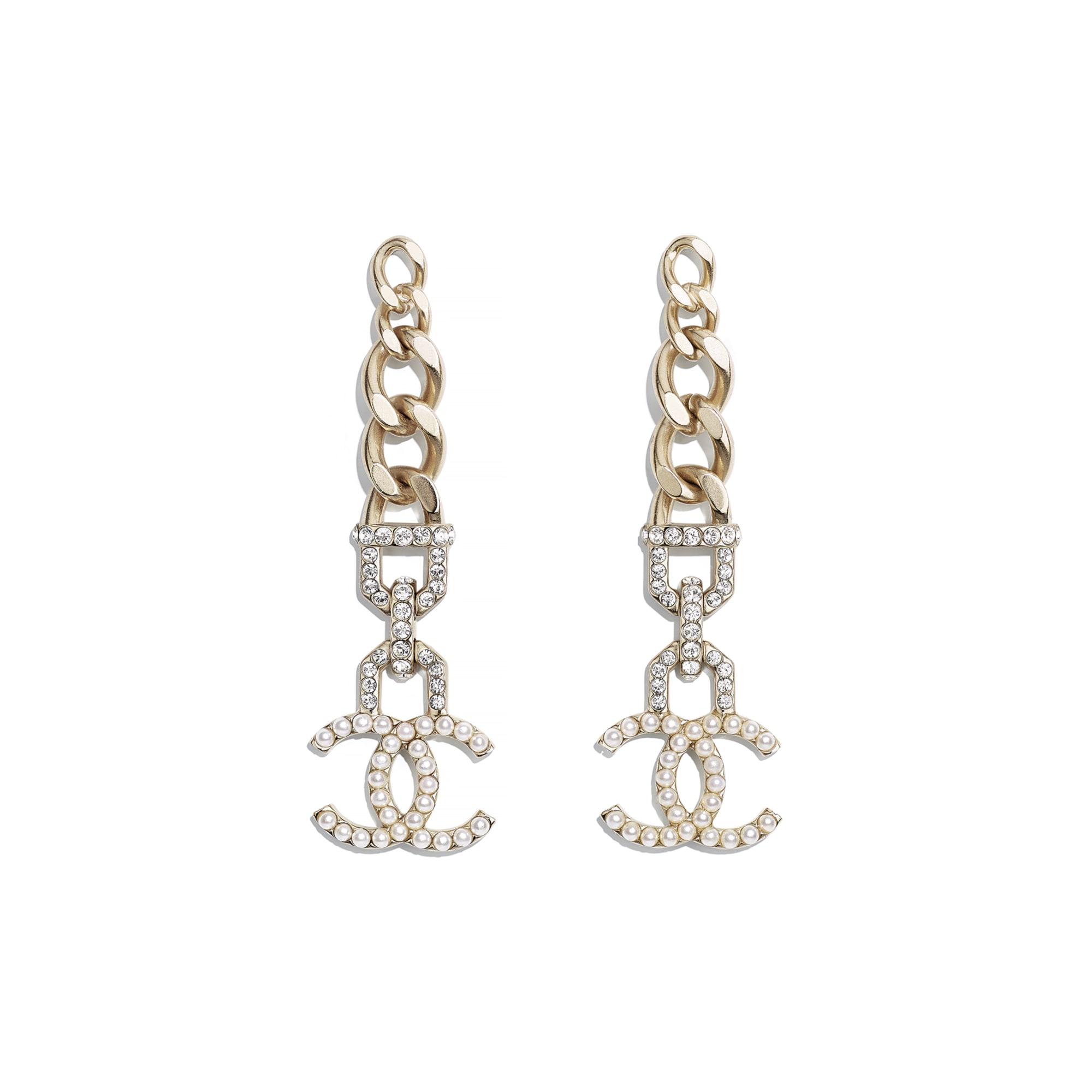 耳環 - 金、珍珠白及水晶色 - 金屬、仿珍珠及水晶 - CHANEL - 預設視圖 - 查看標準尺寸版本