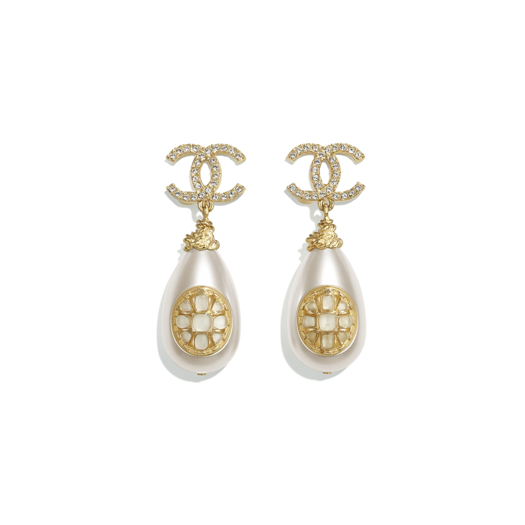 Earrings - Gold, Pearly White & Crystal - Metal, imitation pearls, diamanté  & resin - CHANEL - Default view - see standard sized version