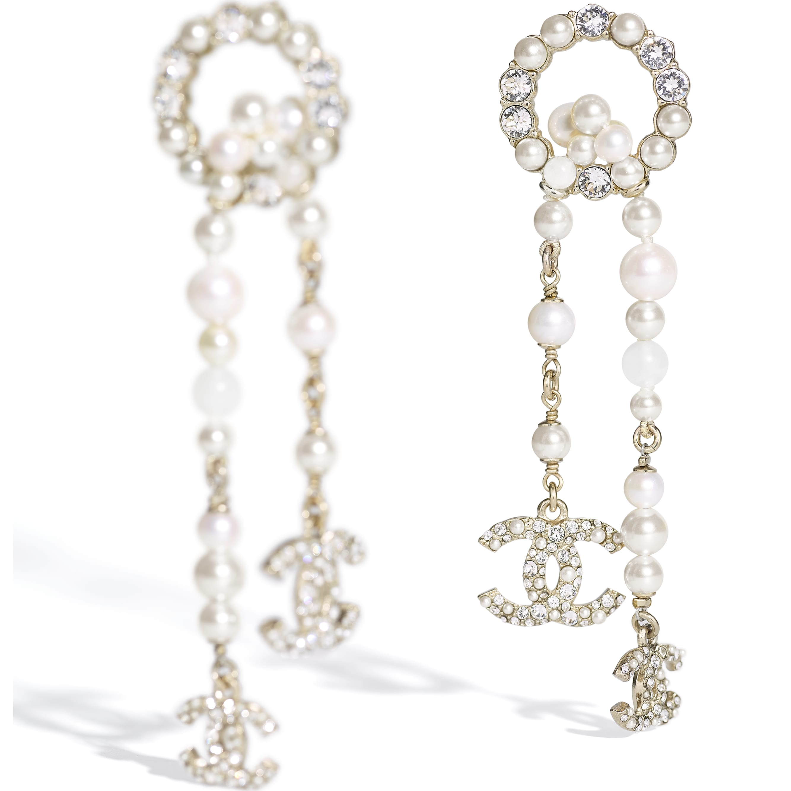 Earrings - Gold, Pearly White & Crystal - Metal, Natural Stones, Cultured Freshwater Pearls, Glass Pearls & Diamanté  - CHANEL - Alternative view - see standard sized version