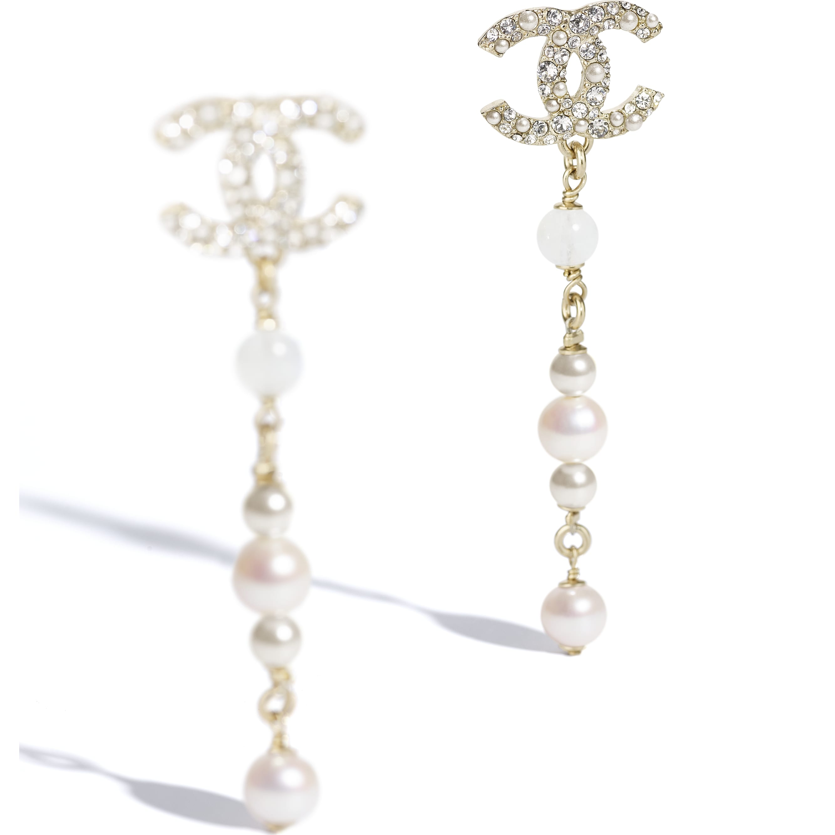 Earrings - Gold, Pearly White & Crystal - Metal, Natural Stones, Cultured Freshwater Pearls, Glass Pearls & Strass - CHANEL - Alternative view - see standard sized version