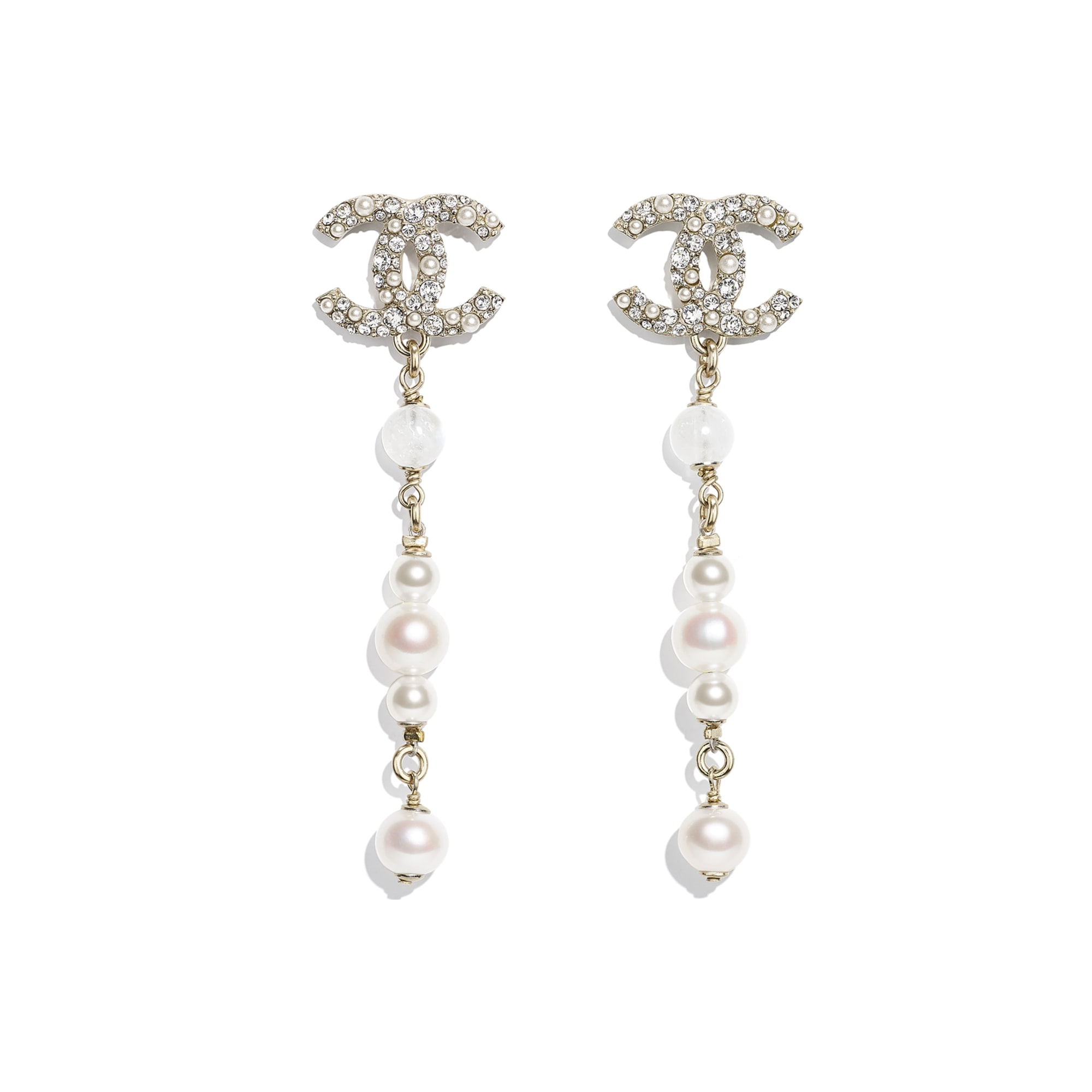 Earrings - Gold, Pearly White & Crystal - Metal, Natural Stones, Cultured Freshwater Pearls, Glass Pearls & Diamanté  - CHANEL - Default view - see standard sized version