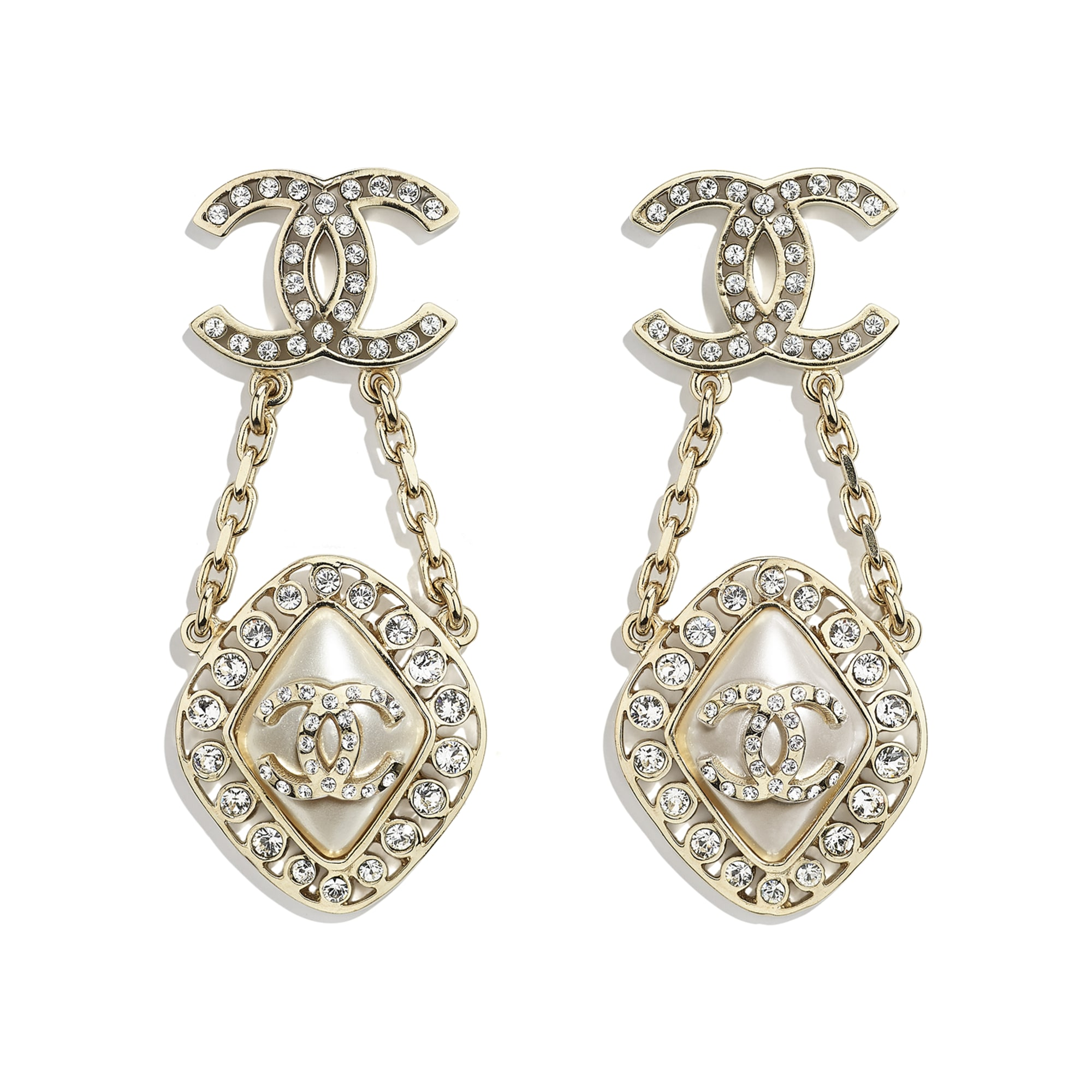 Earrings - Gold, Pearly White & Crystal - Metal, Diamantés & Resin - CHANEL - Default view - see standard sized version