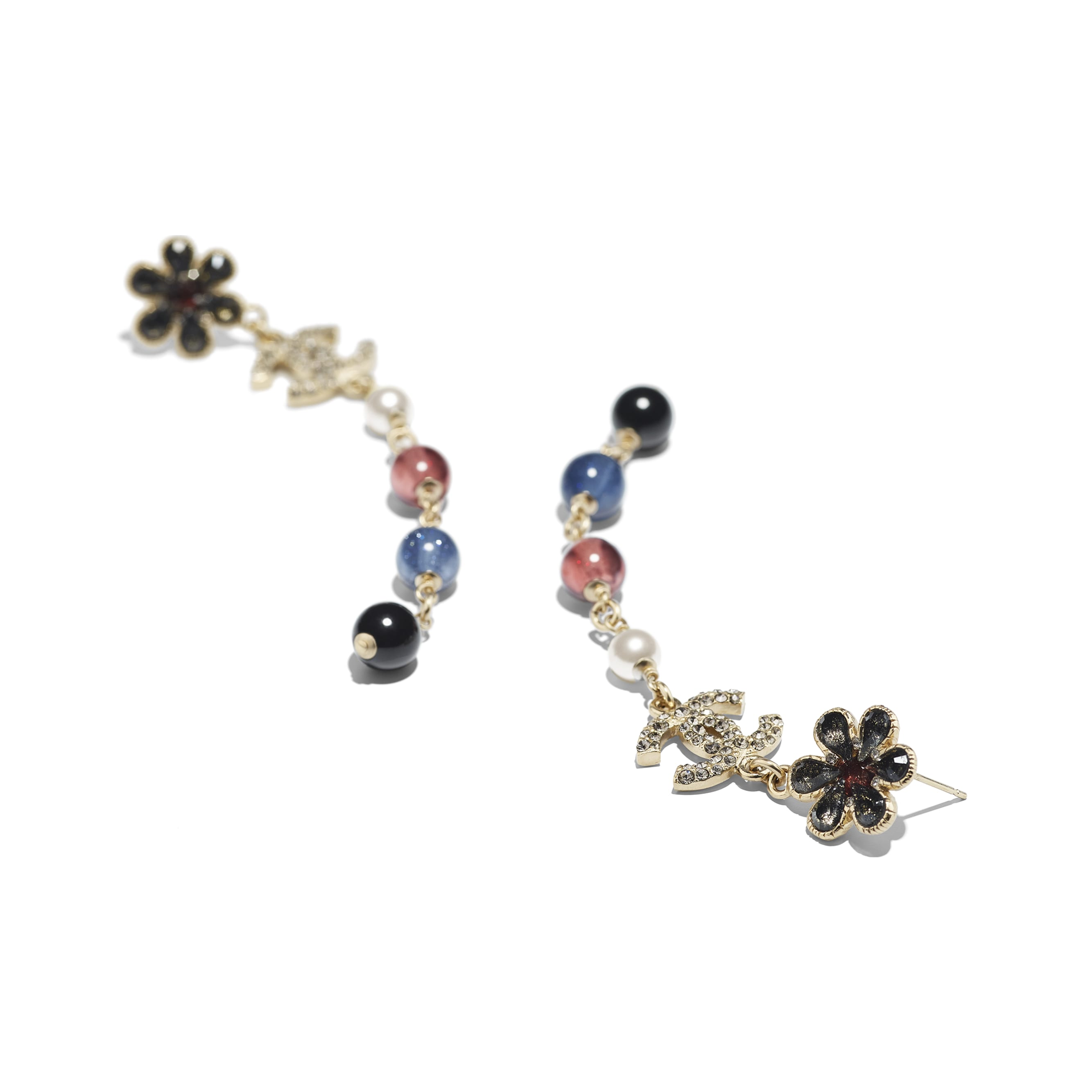 Earrings - Gold, Pearly White, Crystal, Navy Blue & Burgundy - Metal, Glass Pearls & Diamantés - Alternative view - see standard sized version