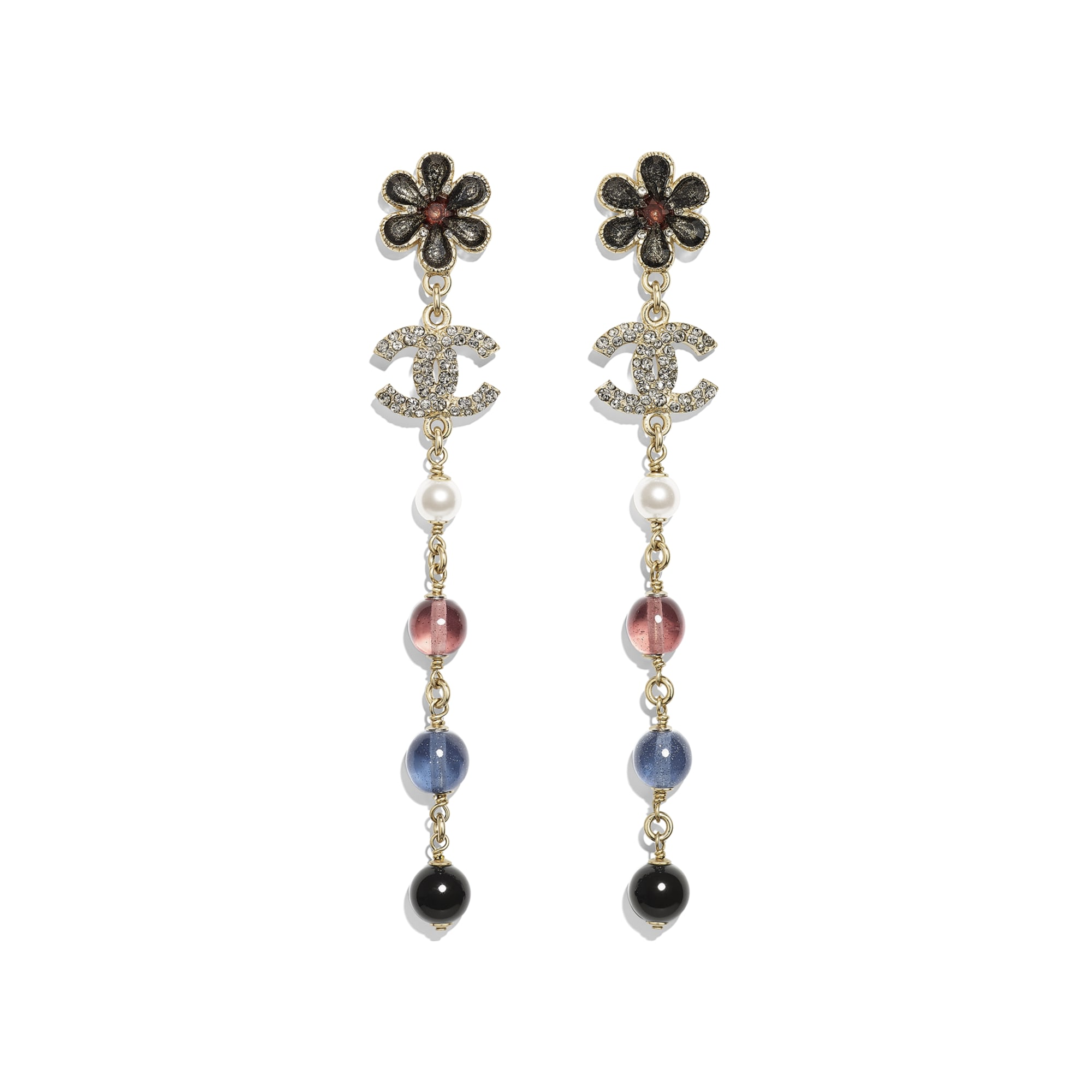 Earrings - Gold, Pearly White, Crystal, Navy Blue & Burgundy - Metal, Glass Pearls & Diamantés - Default view - see standard sized version