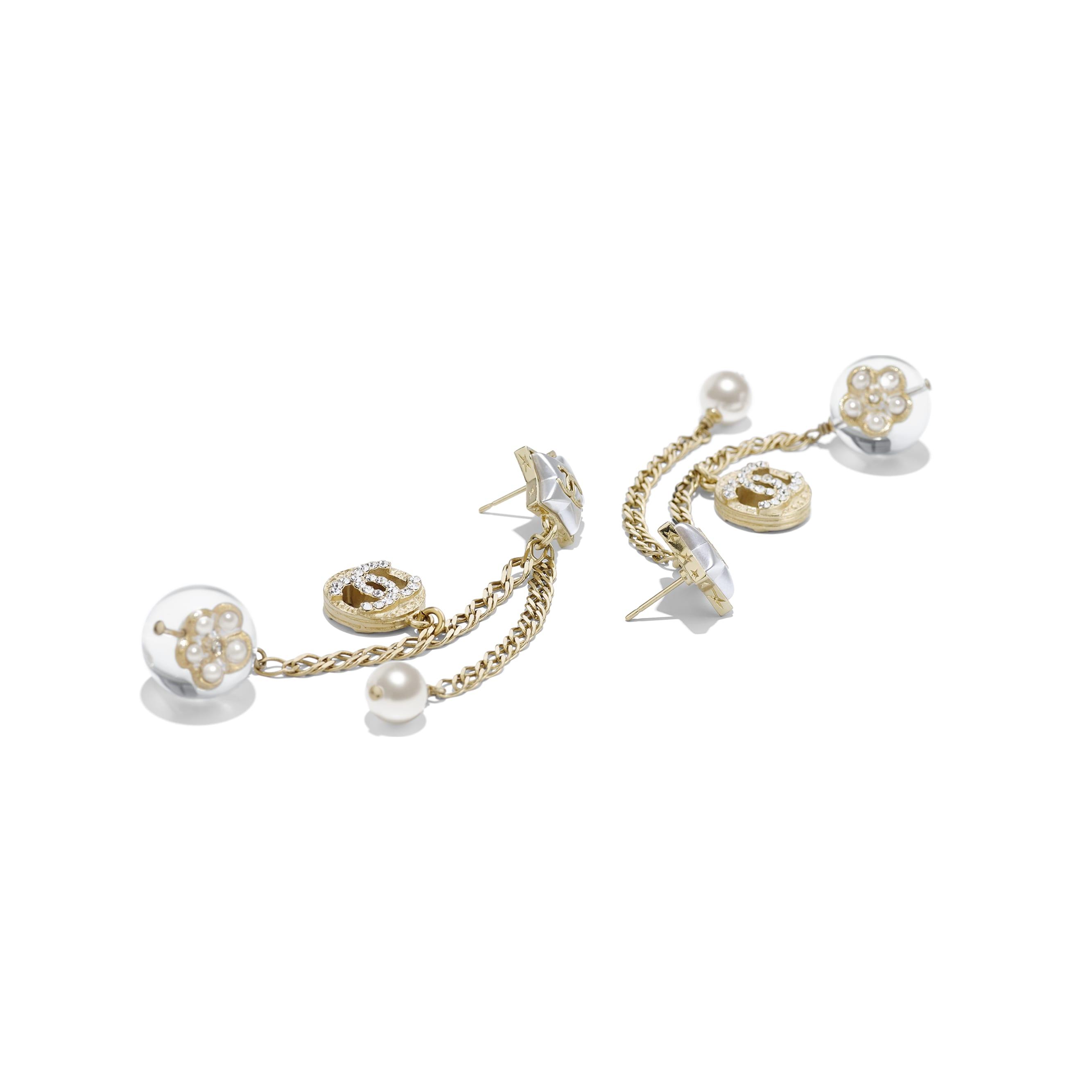 Kolczyki - Kolor złoty, perłowobiały, krystaliczny i przezroczysty - Metal, szklane perły, sztuczne perły, stras i żywica - Widok alternatywny – zobacz w standardowym rozmiarze
