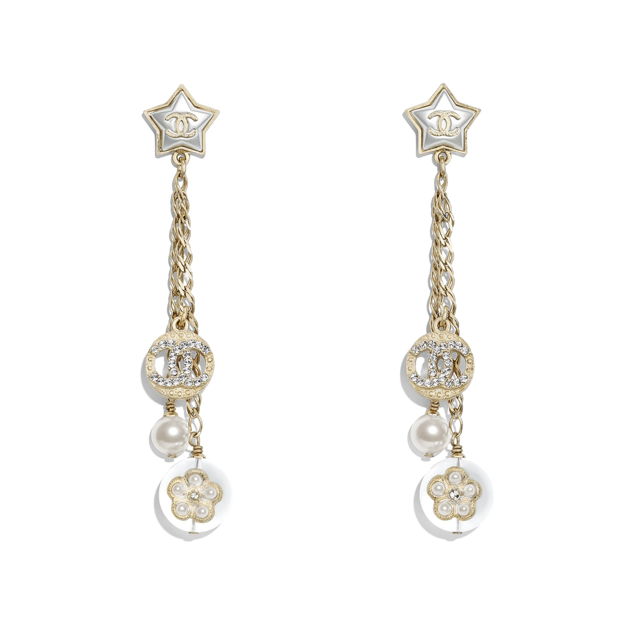 Earrings - Gold, Pearly White, Crystal & Transparent - Metal, Glass Pearls, Imitation Pearls, Diamanté & Resin - Default view - see standard sized version
