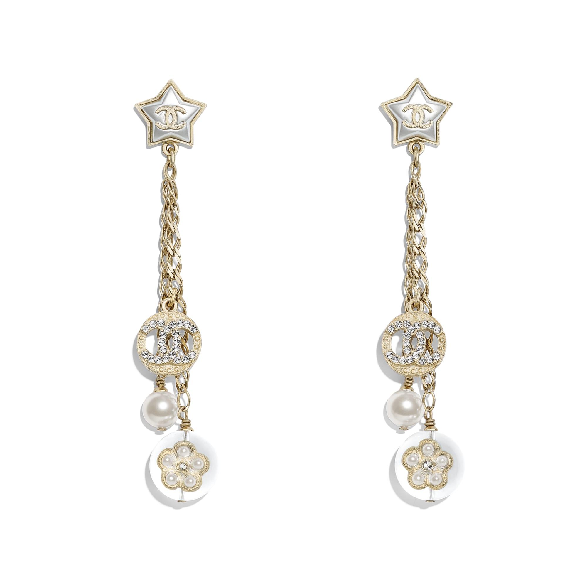 Kolczyki - Kolor złoty, perłowobiały, krystaliczny i przezroczysty - Metal, szklane perły, sztuczne perły, stras i żywica - Widok domyślny – zobacz w standardowym rozmiarze