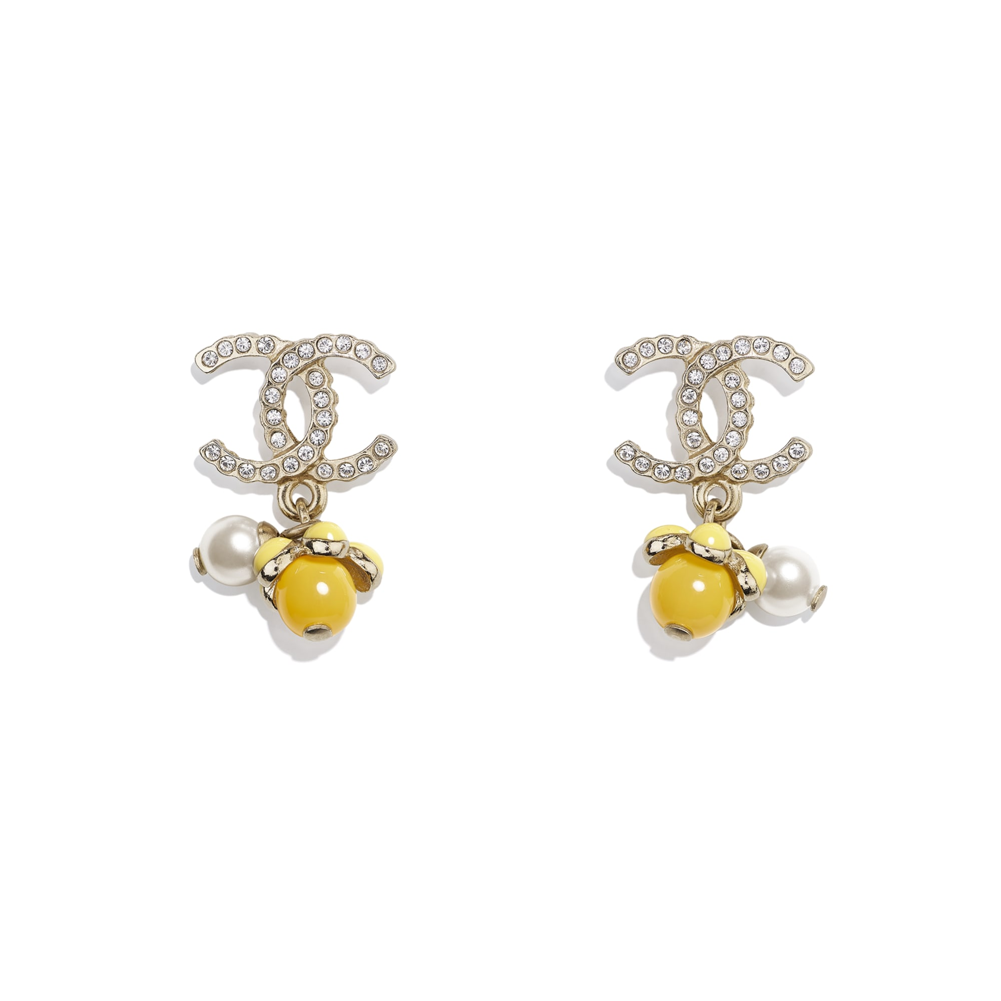 Earrings - Gold, Pearly White, Crystal & Yellow - Metal, Glass Pearls, Diamanté & Resin - CHANEL - Default view - see standard sized version