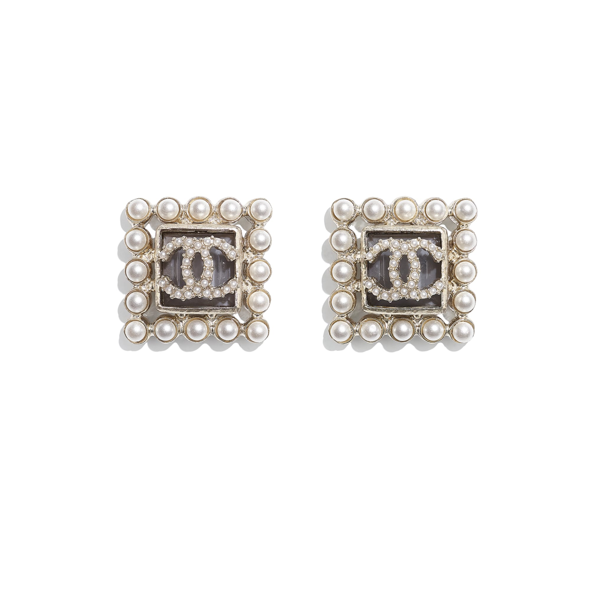 Earrings - Gold, Pearly White & Gray - Metal, Glass Pearls & Glass - CHANEL - Default view - see standard sized version
