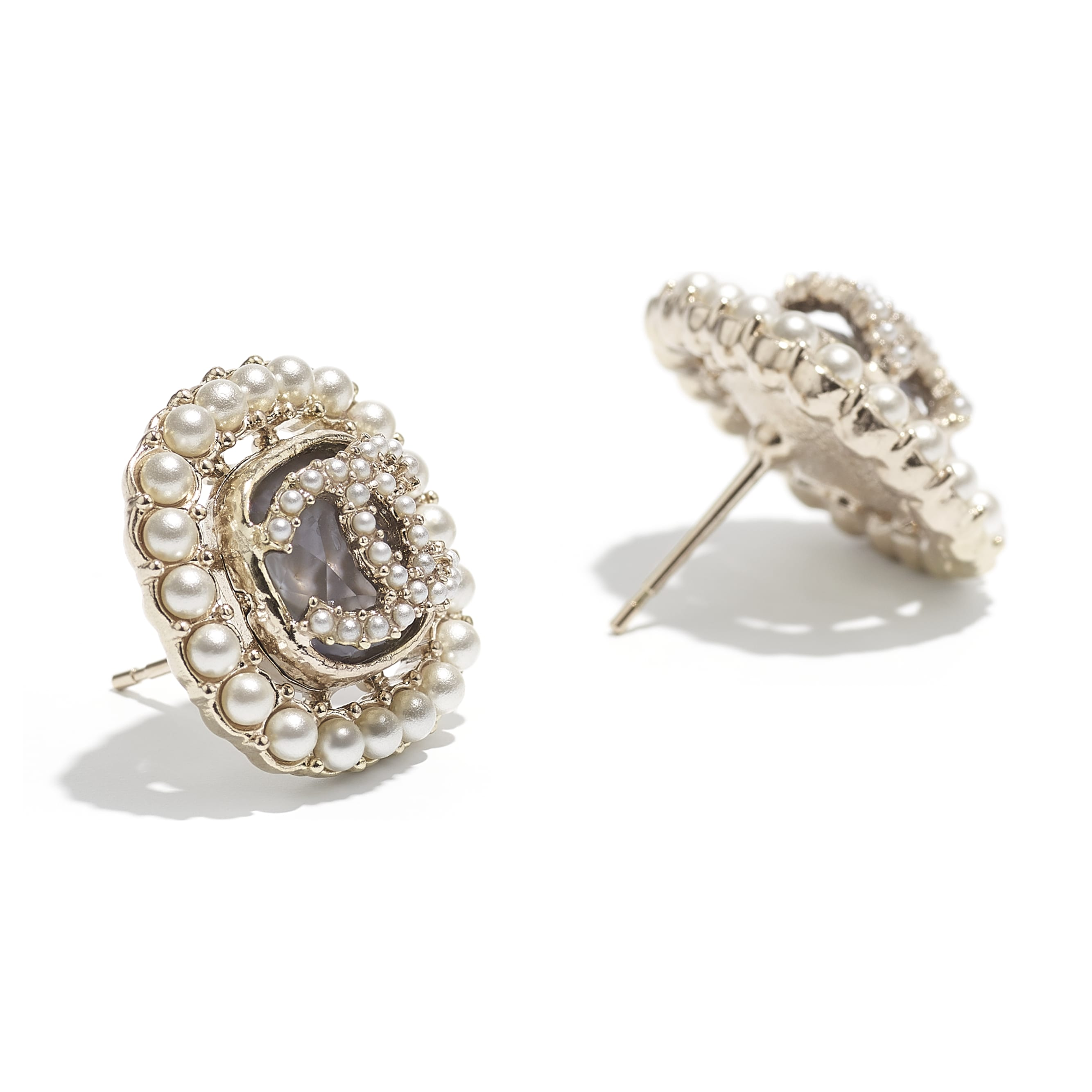 Earrings - Gold, Pearly White & Grey - Metal, Glass Pearls & Diamantés - CHANEL - Alternative view - see standard sized version