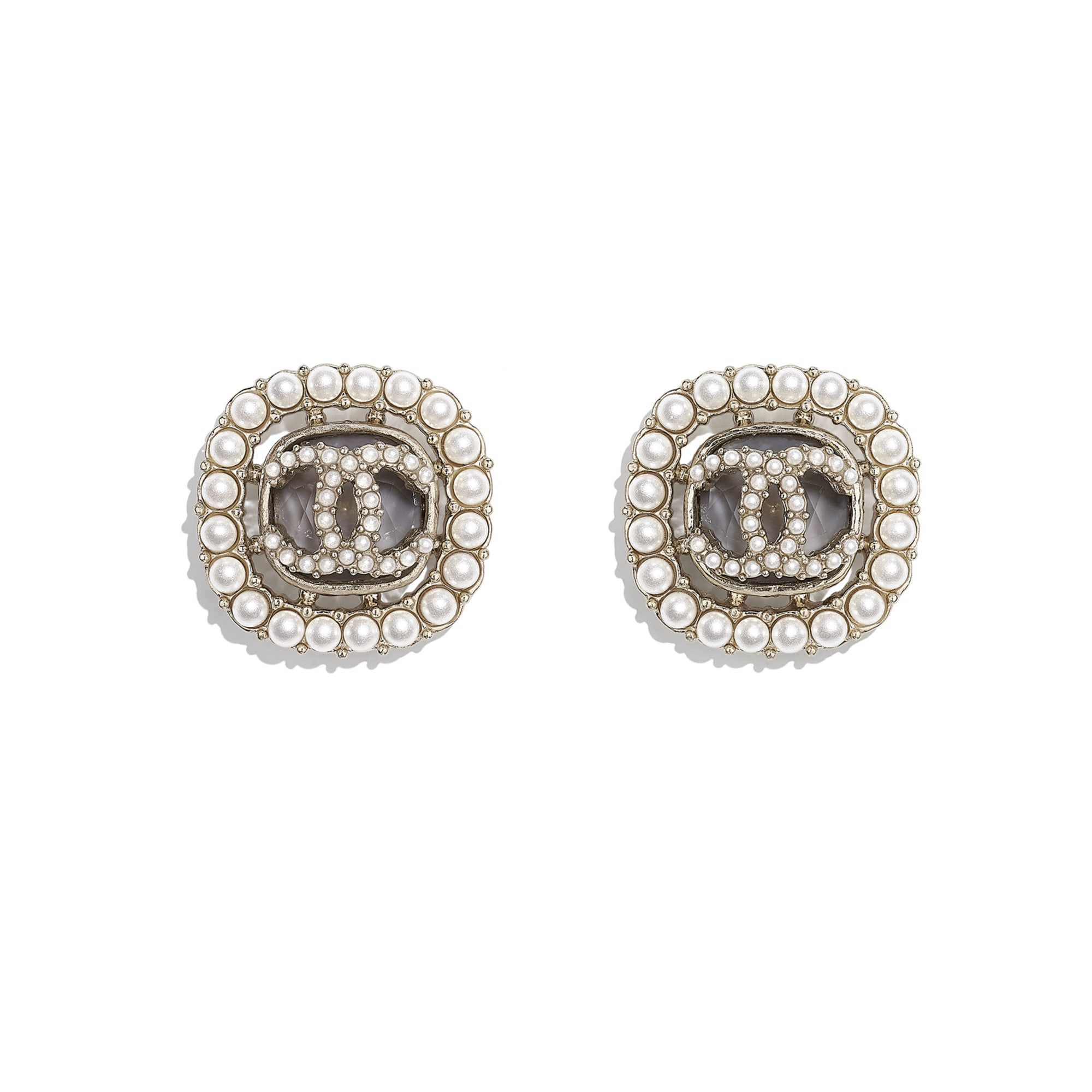 Earrings - Gold, Pearly White & Grey - Metal, Glass Pearls & Diamantés - CHANEL - Default view - see standard sized version